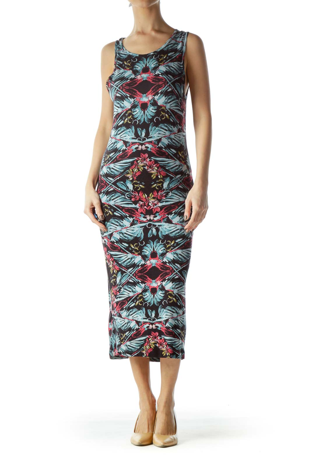 Multicolored Jersey-Knit Floral Print Day Dress