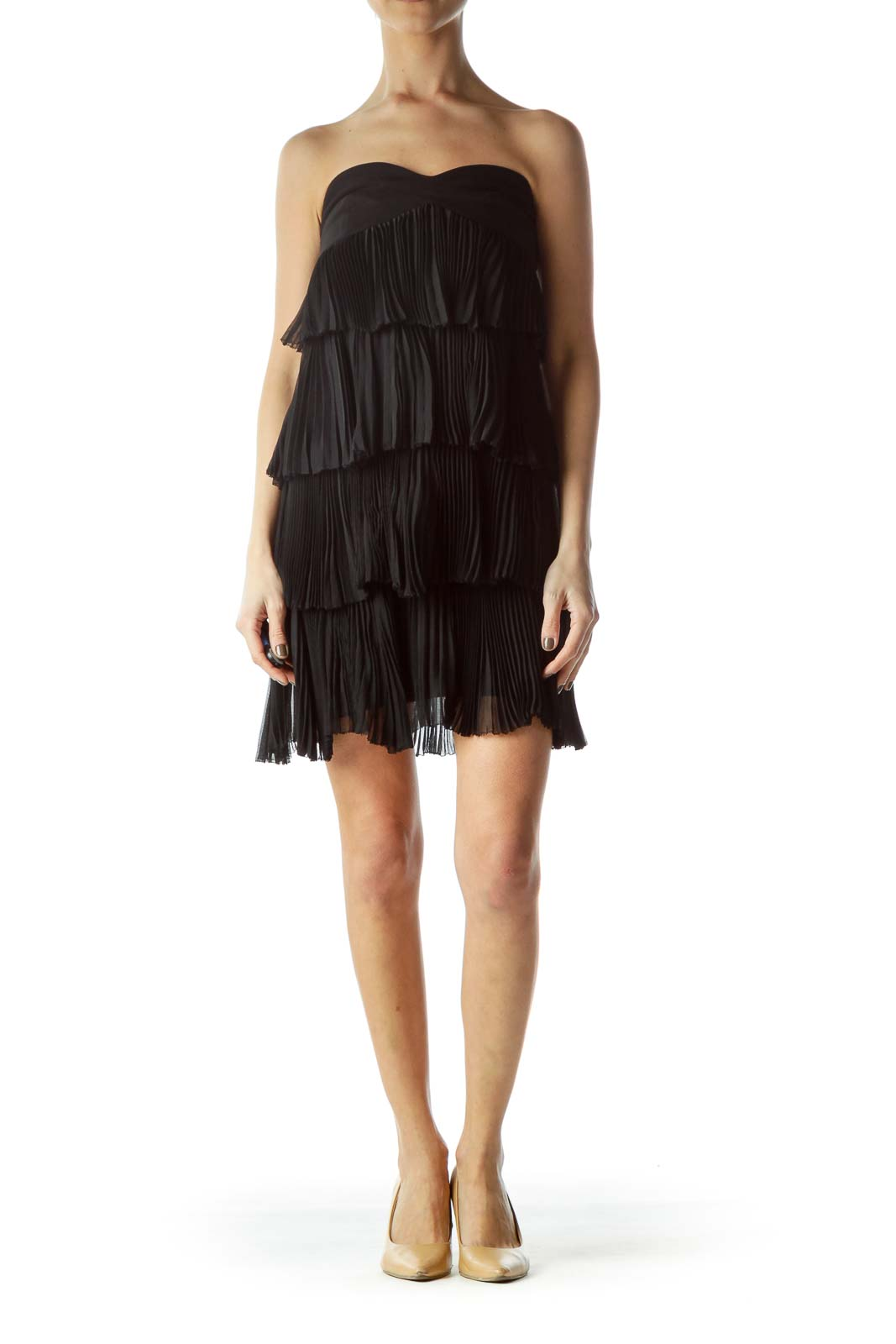 Black Pleated Sweetheart Neckline Flared Cocktail Dress