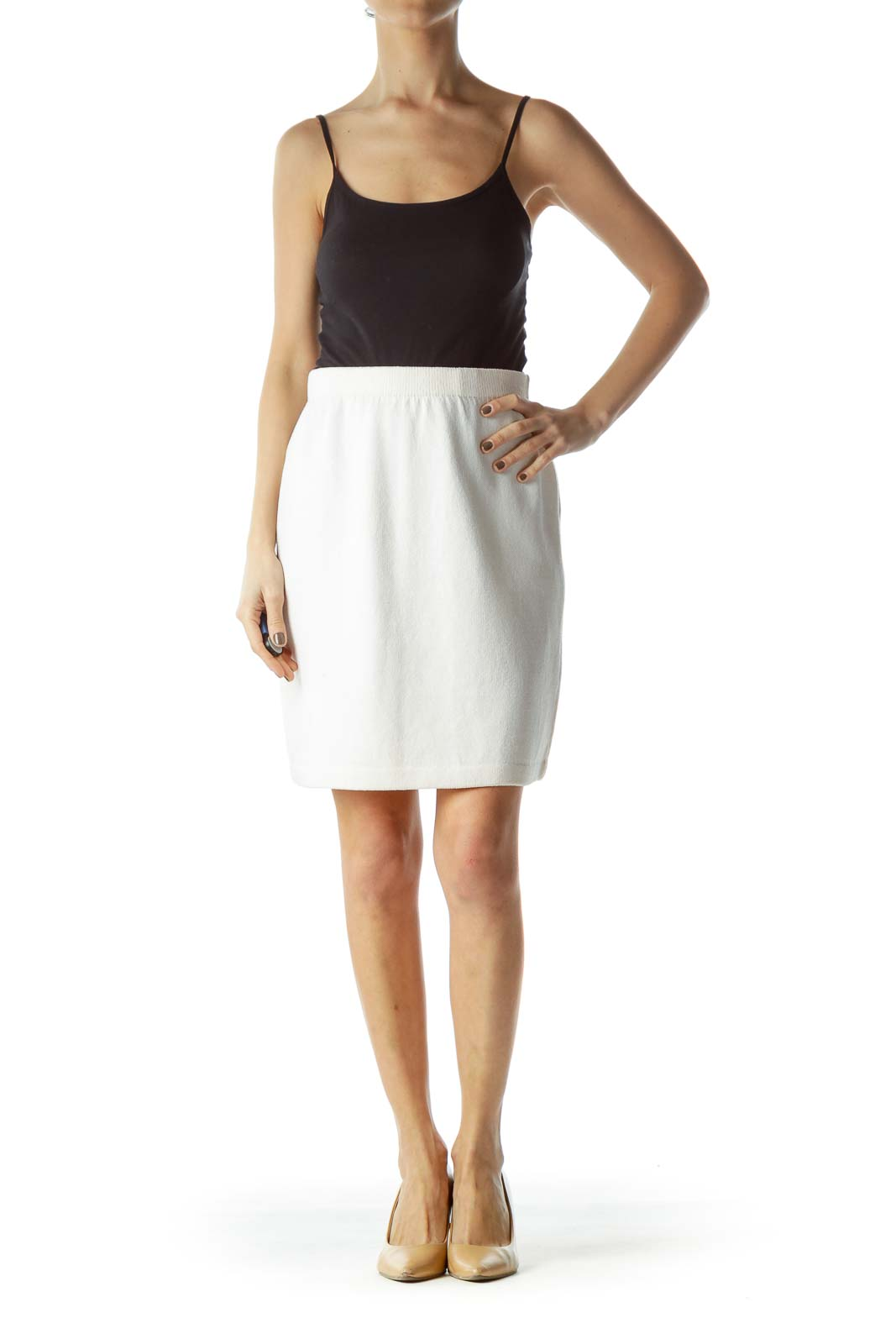 Cream Knit Stretch A-Line Skirt