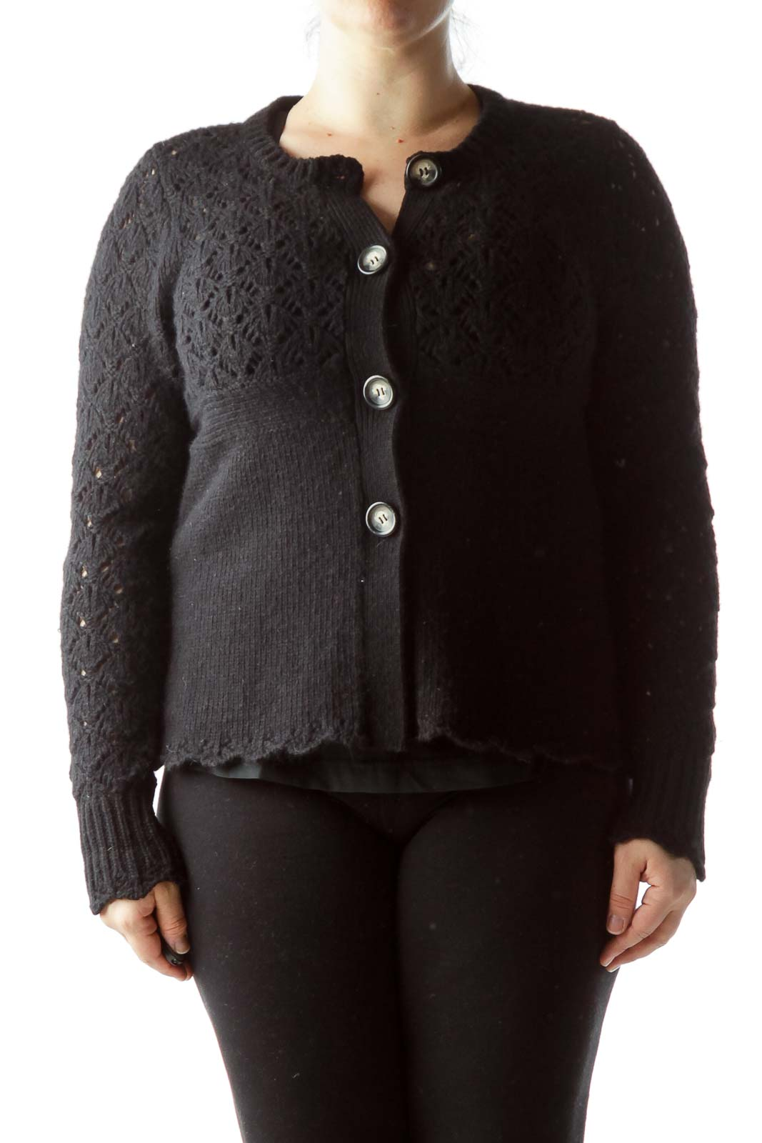 Black Knitted Long Sleeve Buttoned Soft Sweater