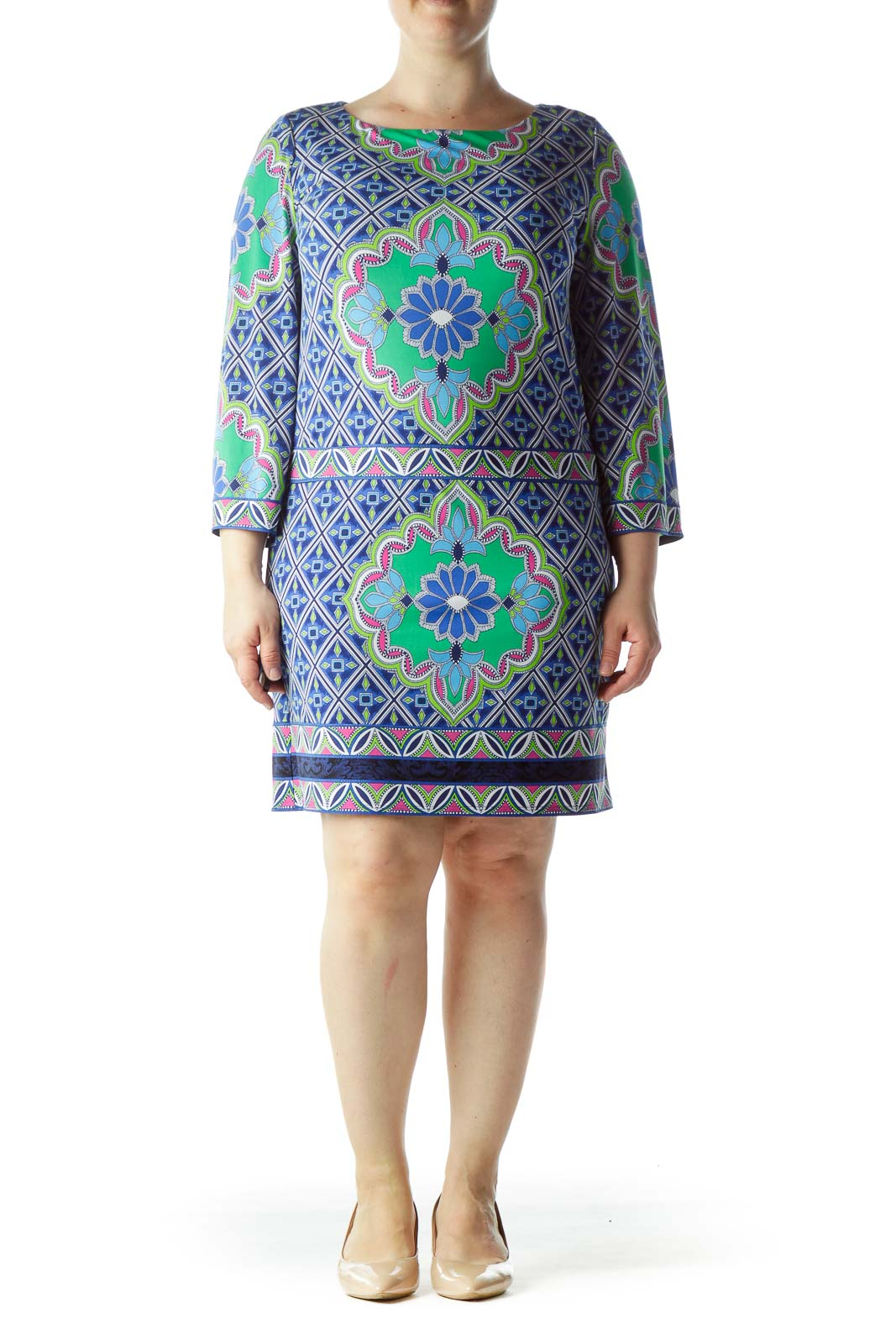 Multicolored Printed Stretch Shift Day Dress