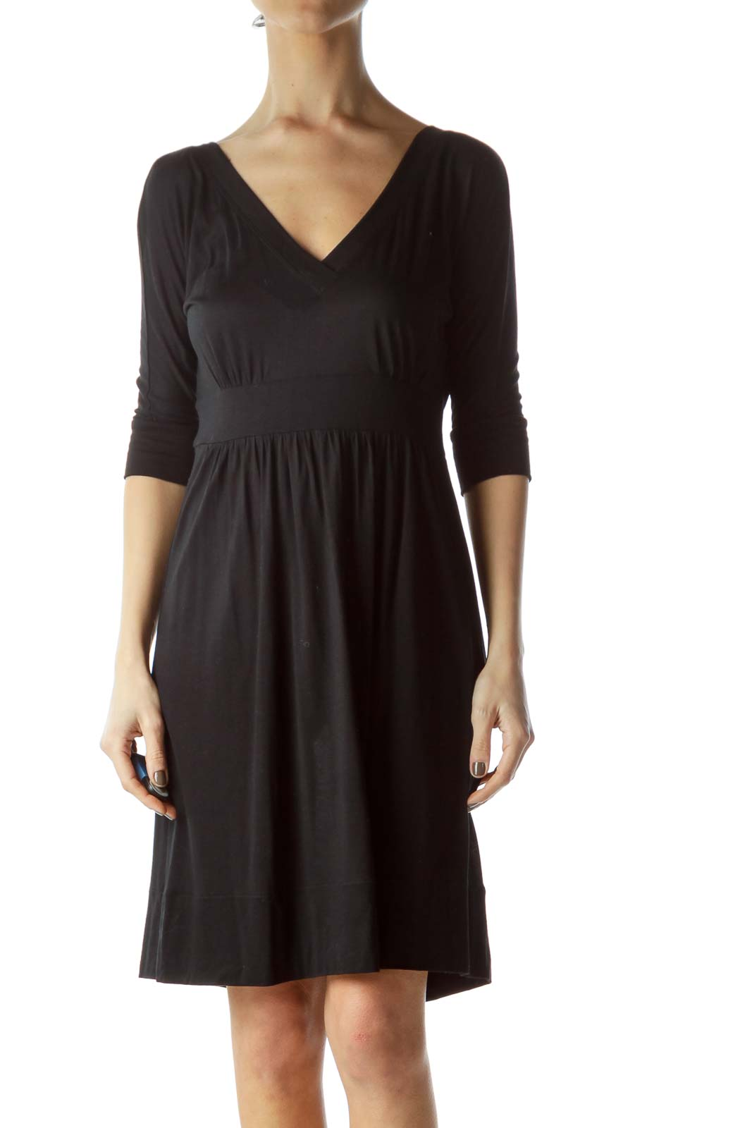 Black V-Neck Jersey-Knit 3/4 Sleeve Day Dress