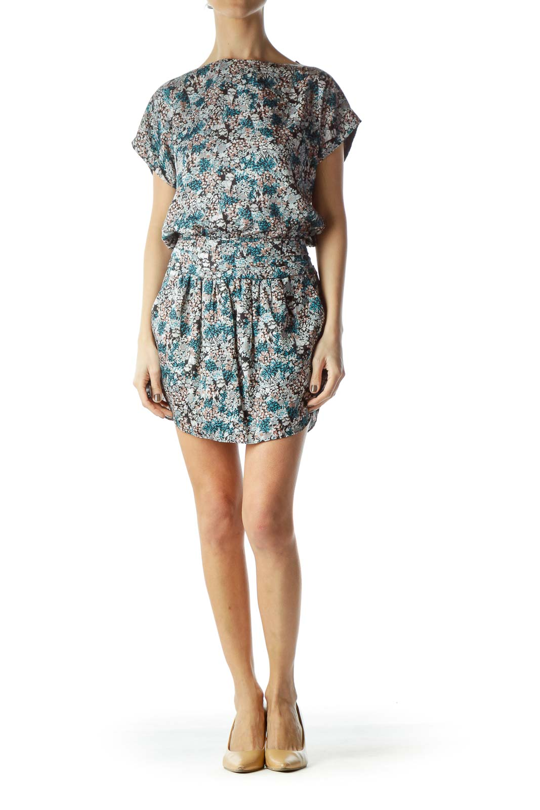 Multicolored Small Flowers Print Dress