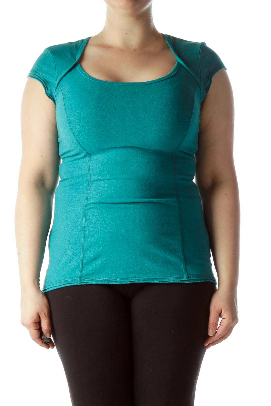 Teal Blue Short Sleeve Back Cut-Out Sports Top