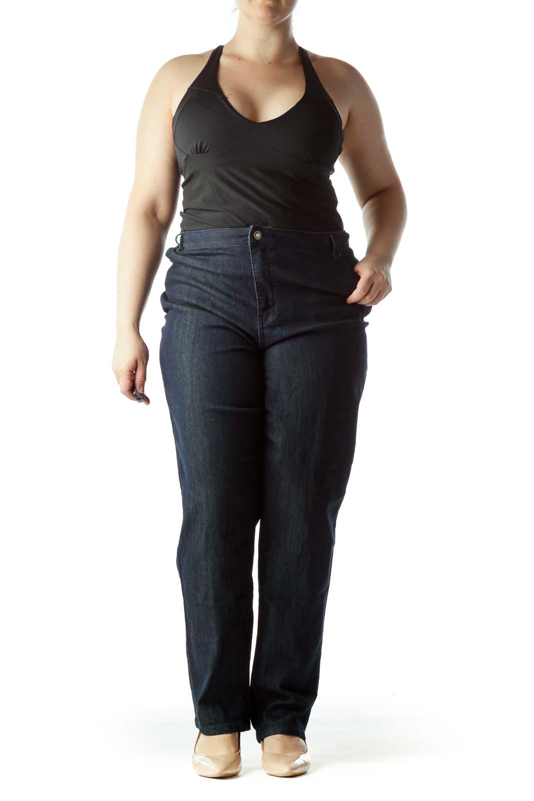 Blue Dark Wash Straight Leg Denim Jeans