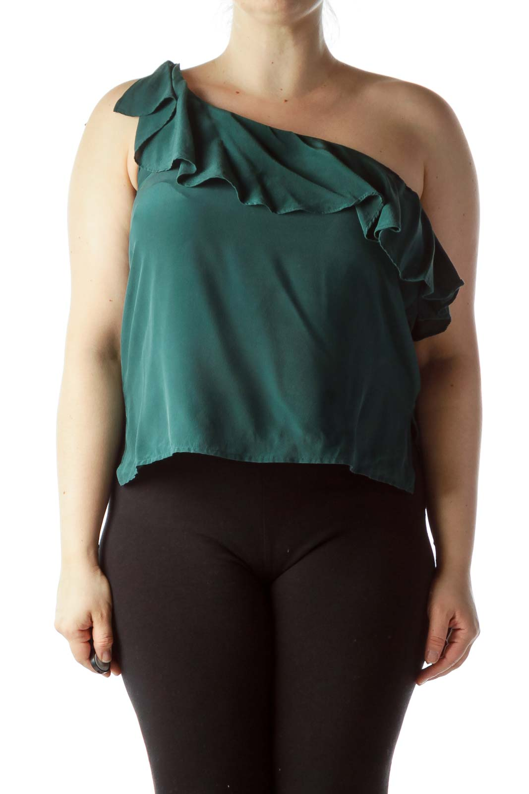 Green One-Shoulder Ruffled Top
