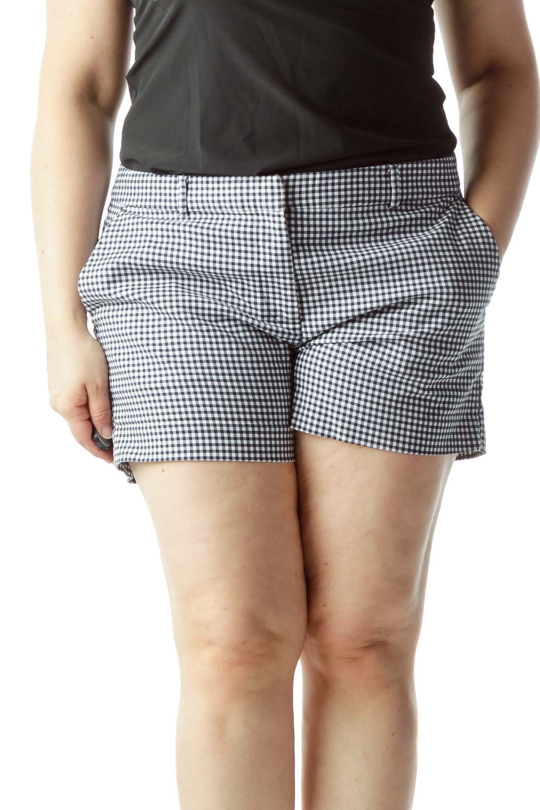 Blue White Checkered Pocketed Shorts