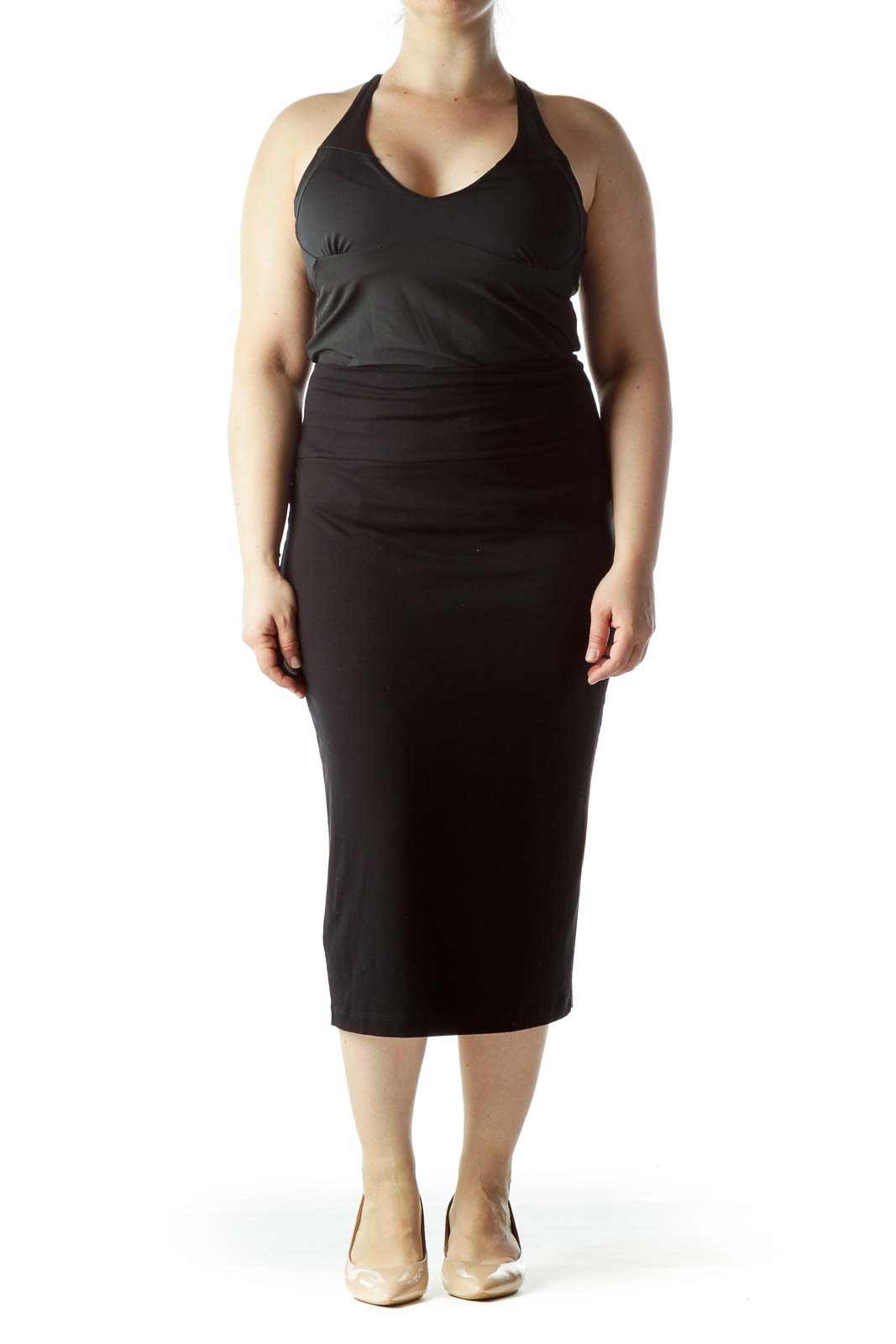 Black Stretch Slim Midi Pencil Skirt