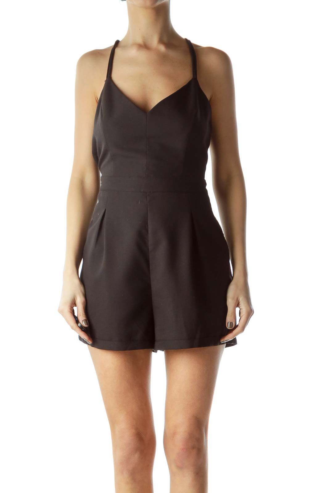 Black Spaghetti Strap Pocketed Romper