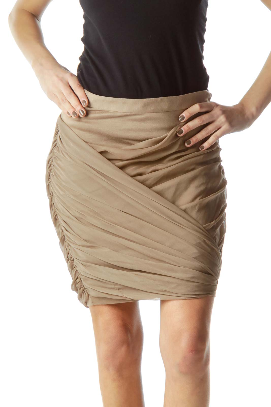 Beige Front Silk Design Pencil Skirt