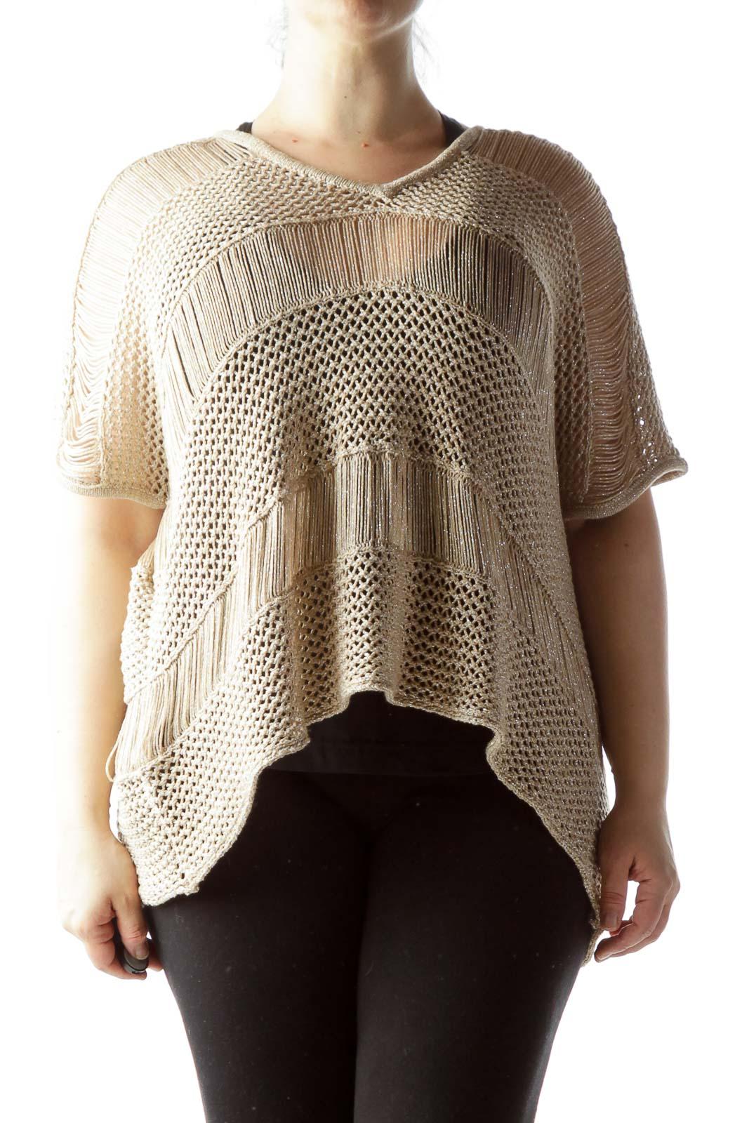 Beige Silver Metallic Thread Knit See-Through Top