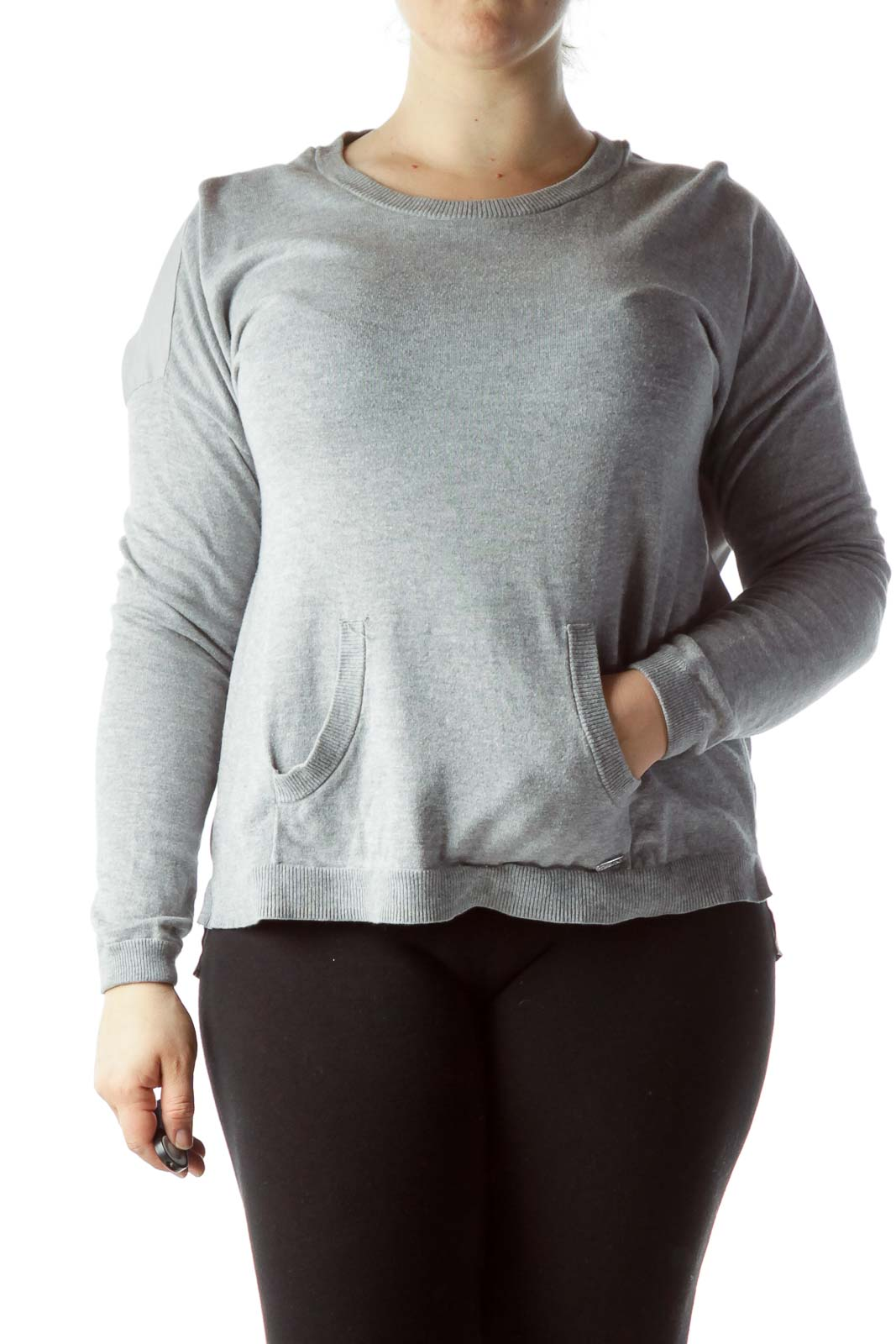 Gray Sweater with Sheer Back