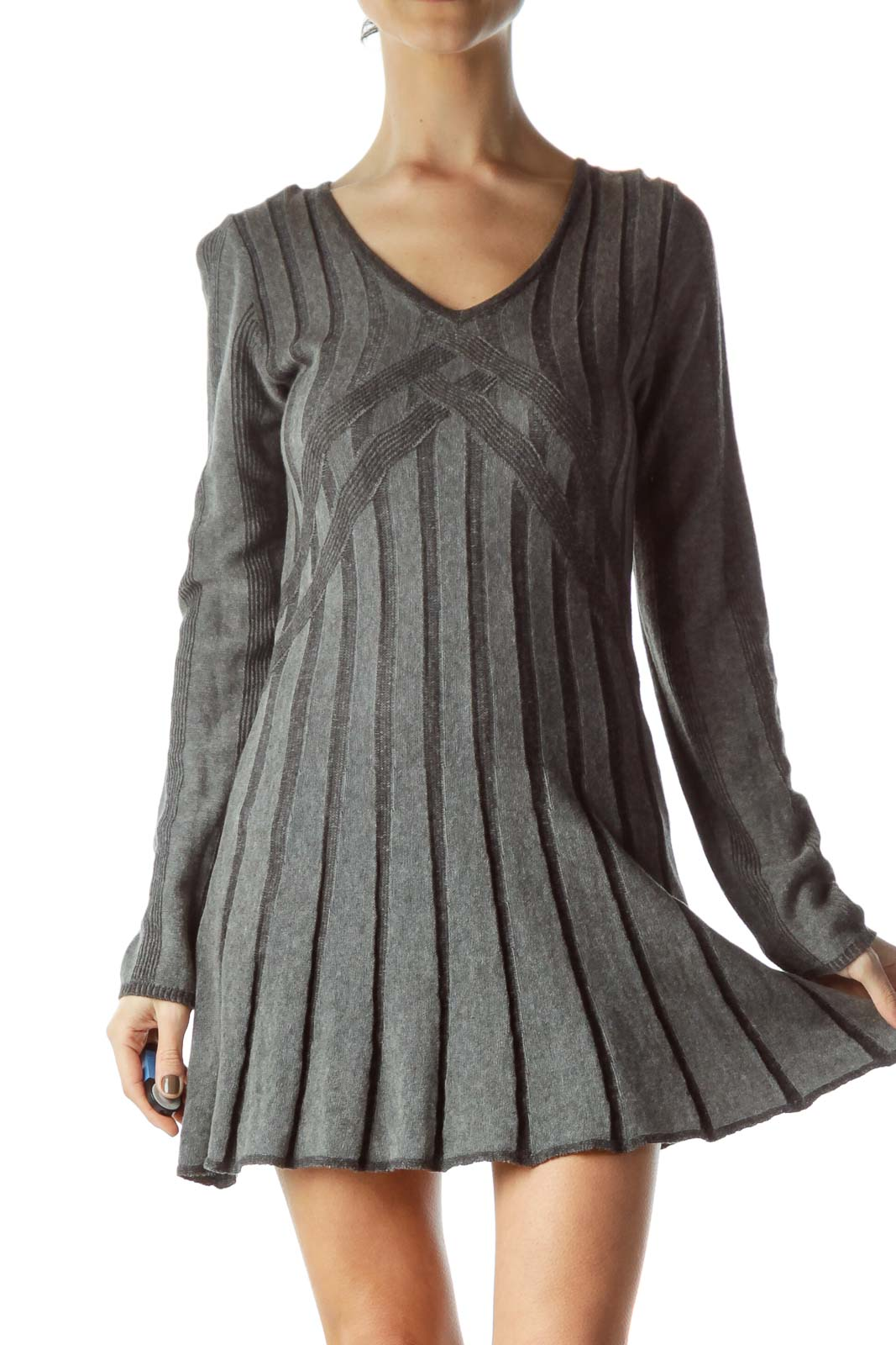 Gray Long Sleeve V-Neck Knit Dress