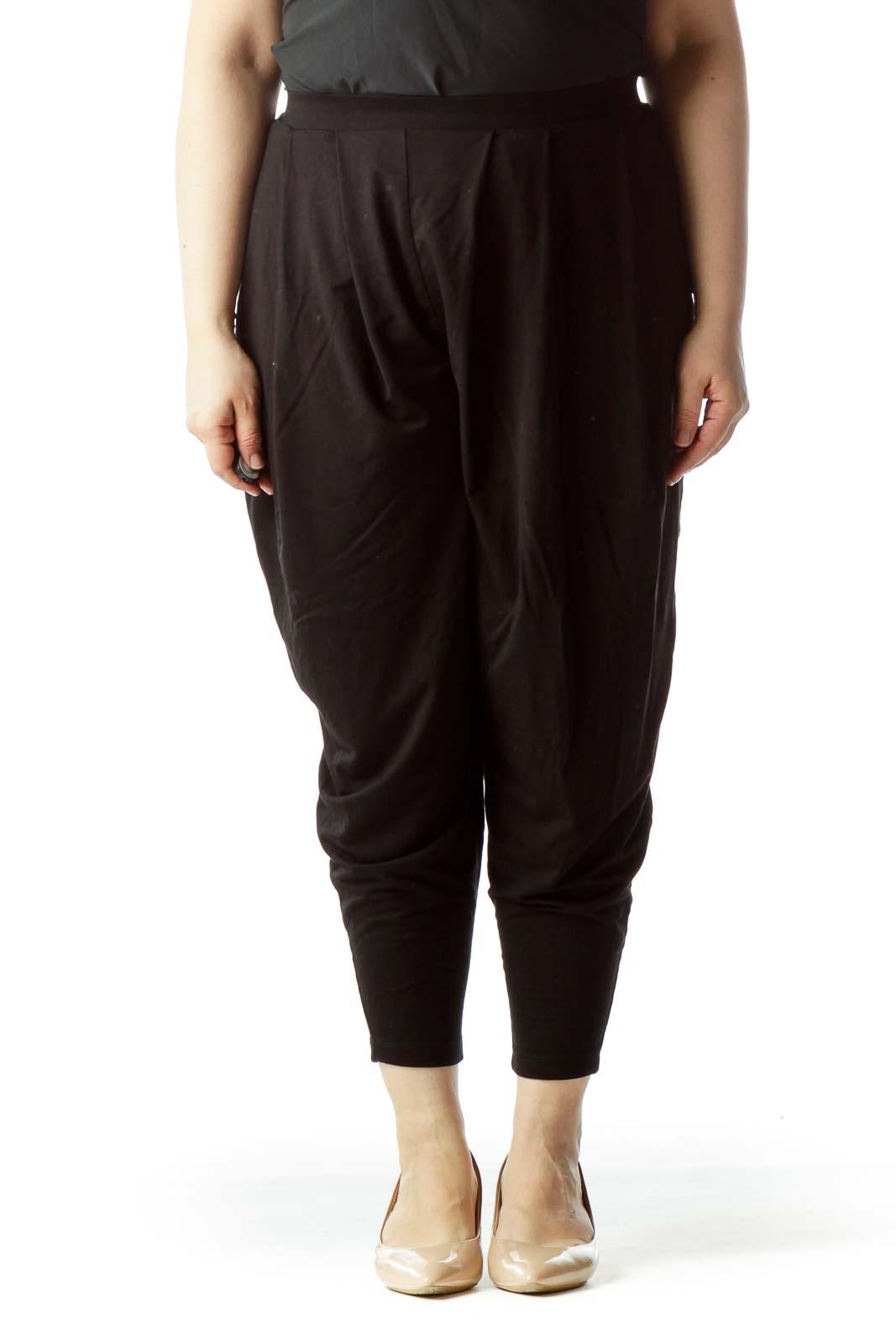 Black Elastic Band Stretch Cropped Pants