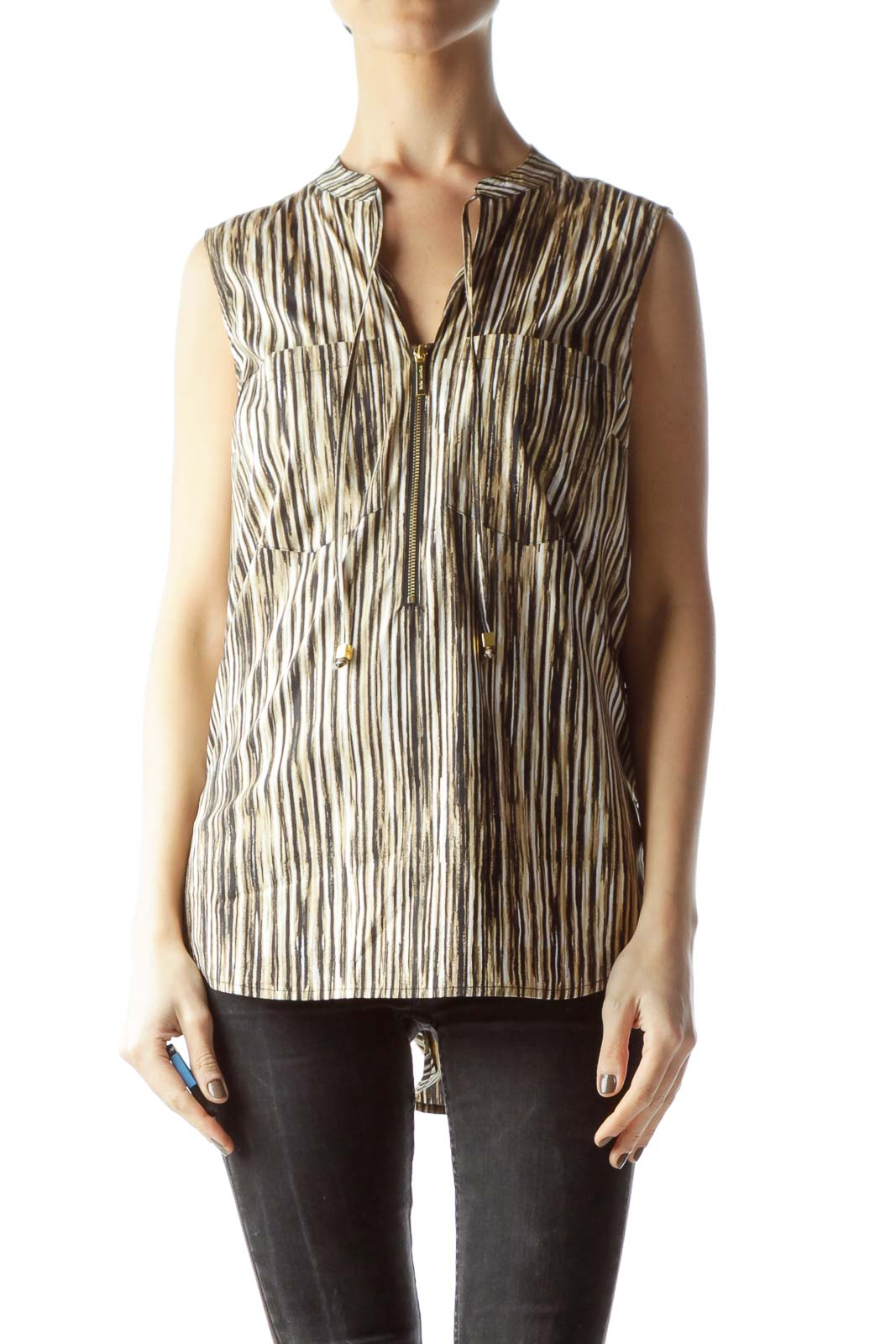 Black and Gold Sleeveless Blouse