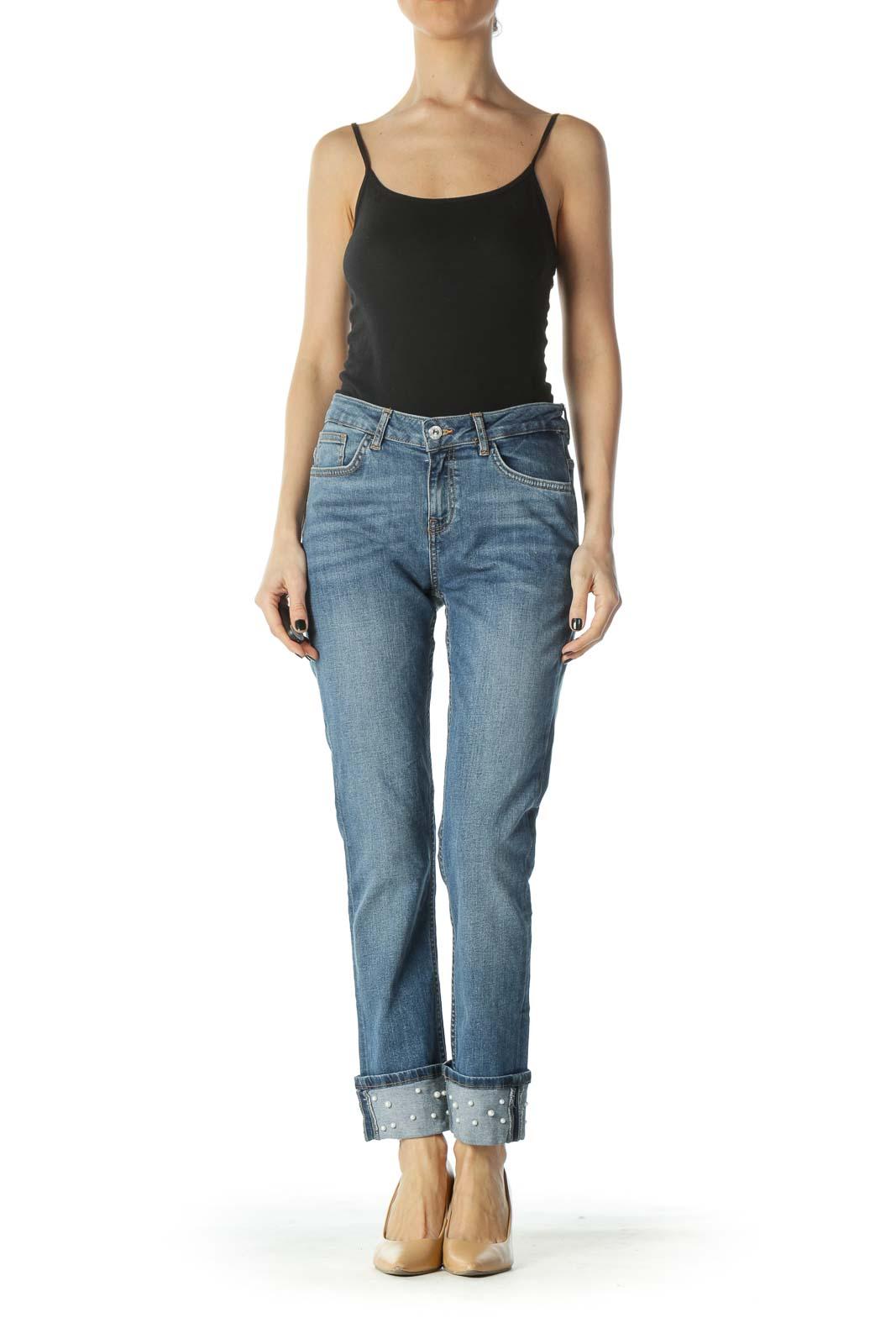 Blue Slim Cuffed Pearl Jeans
