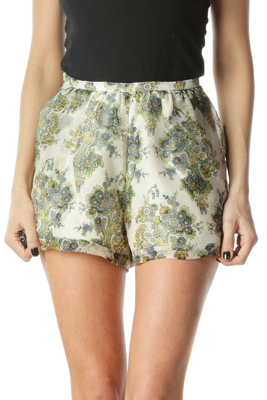 Cream Floral Sheer Shorts