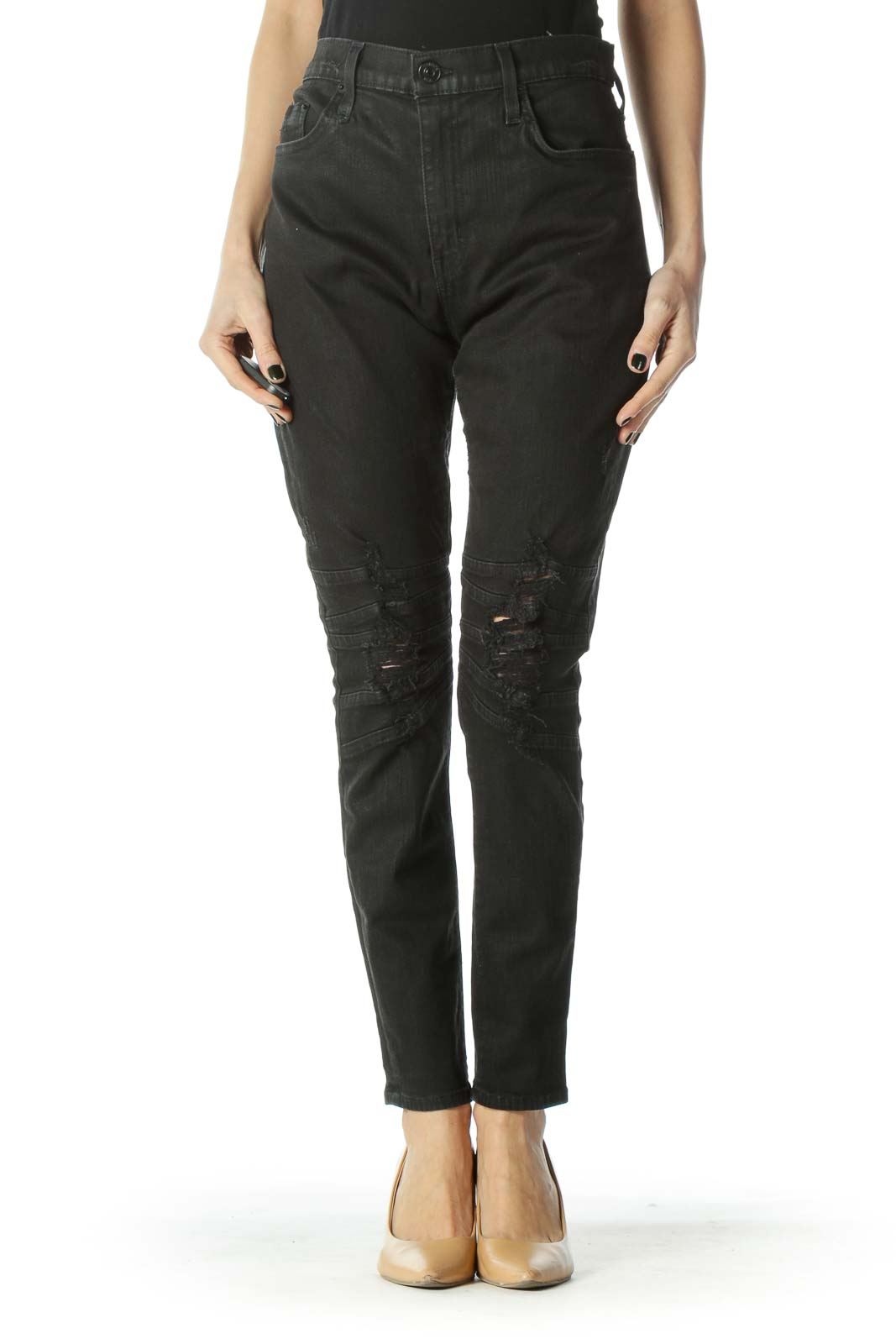 Black Distressed Textured Stretch Skinny Jeans