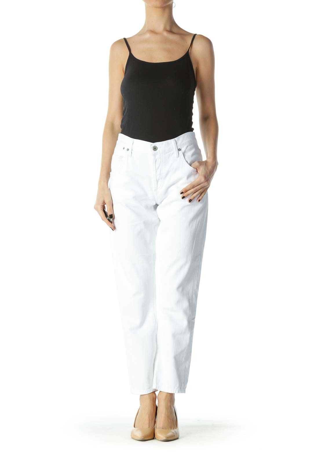 White Pocketed Straight-Leg Denim Jeans