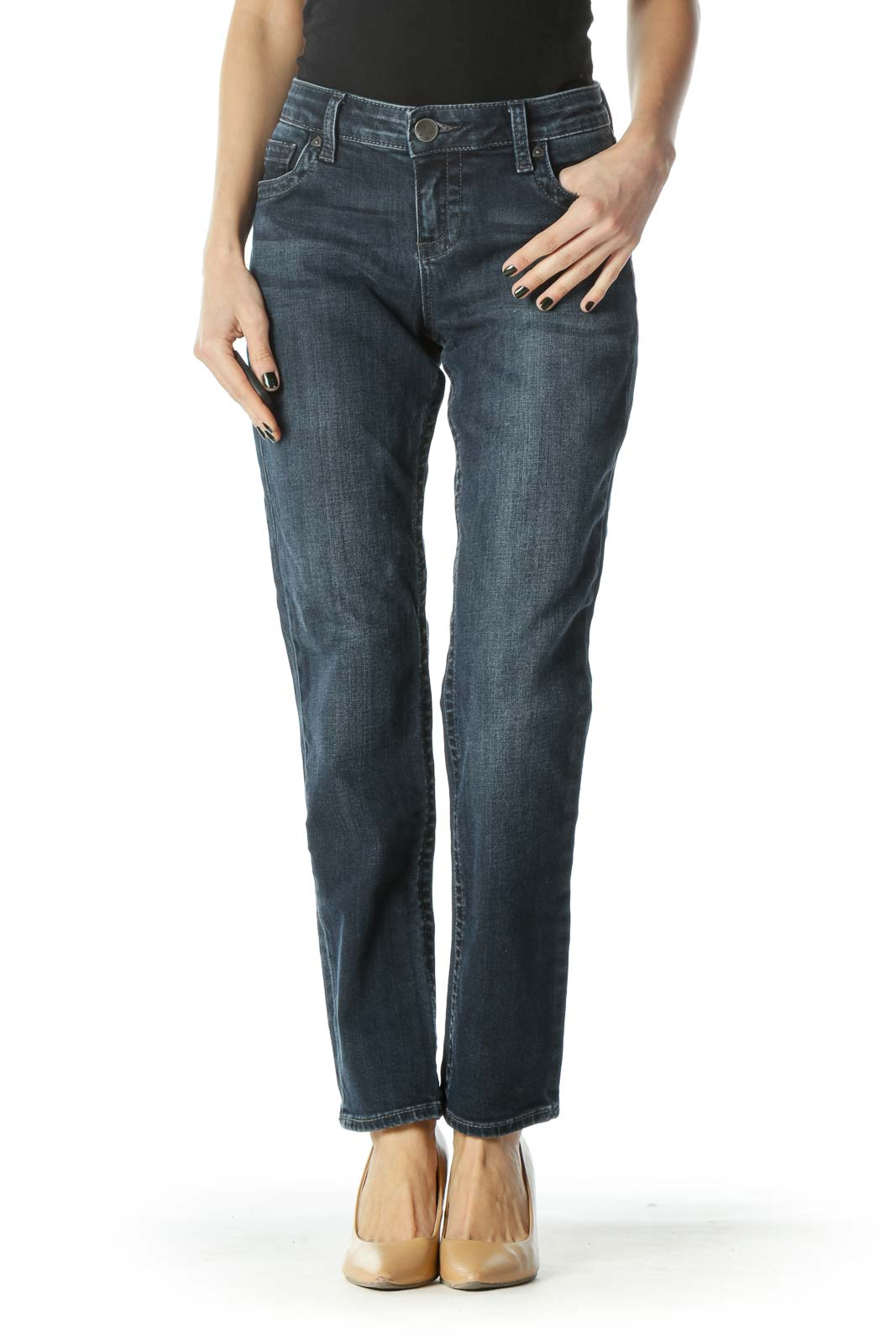 Blue Dark-Wash Straight-Leg Denim Jeans
