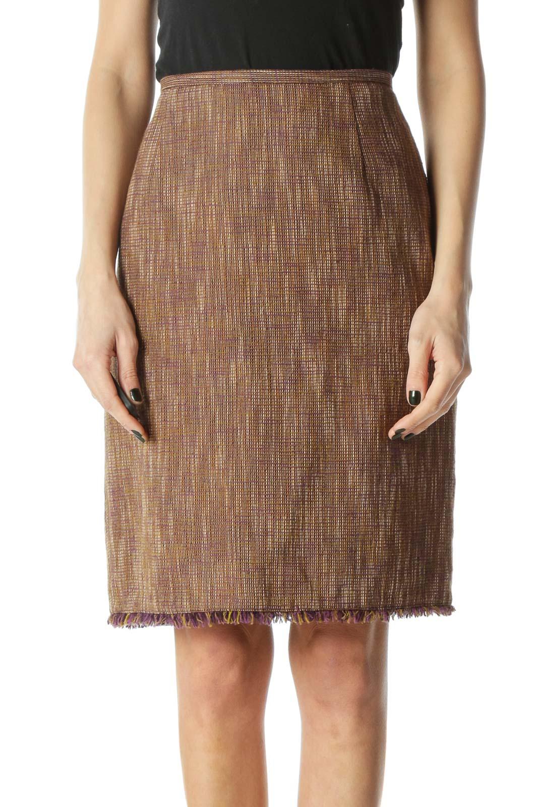 Brown Tweed Pencil Skirt