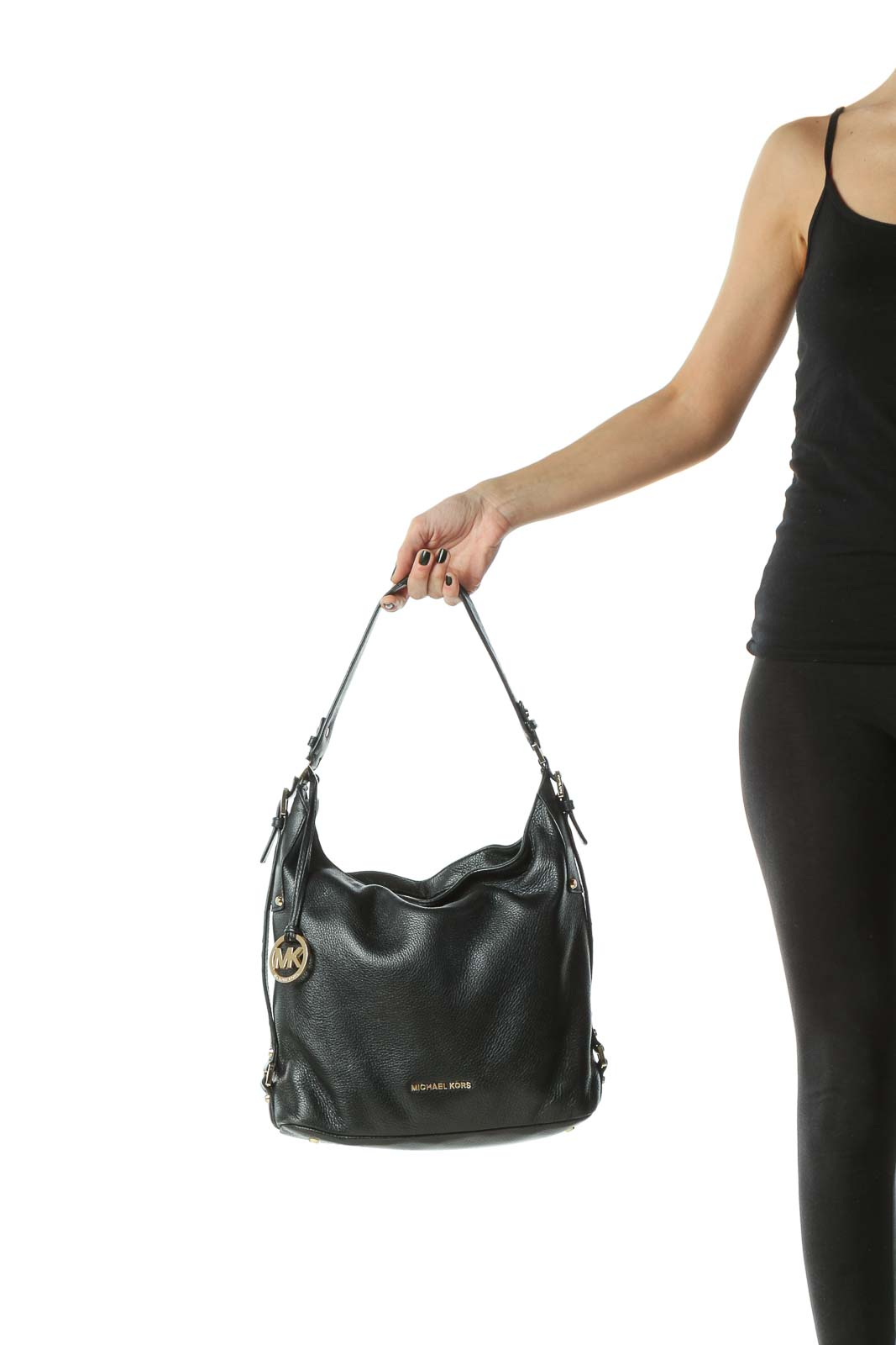 Black Gold Hardware Zippered Satchel Bag