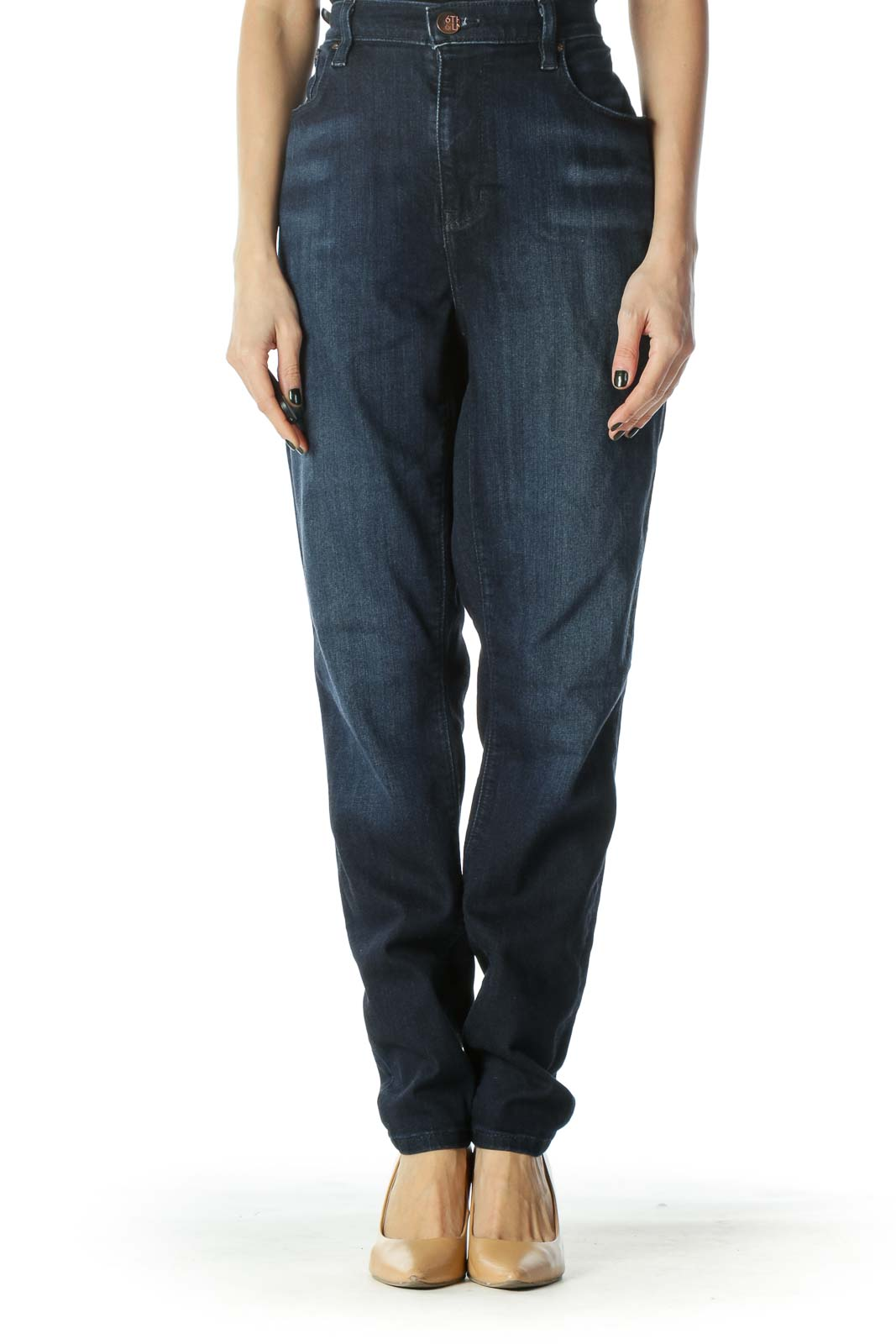 Blue Dark Wash Straight Leg Denim Jeans