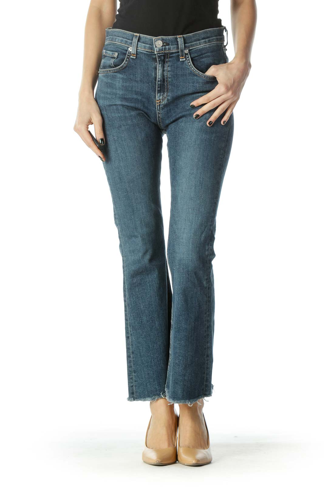 Blue Medium-Wash Frayed Hem High-Waisted Denim Jeans