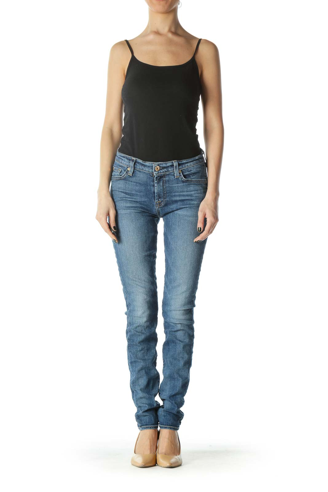 Blue Medium-Wash Straight Leg Denim Jeans