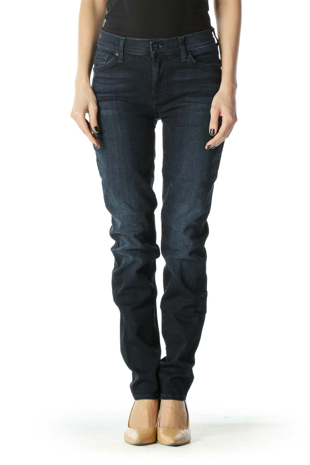 Blue Dark-Wash Slim Denim Jeans