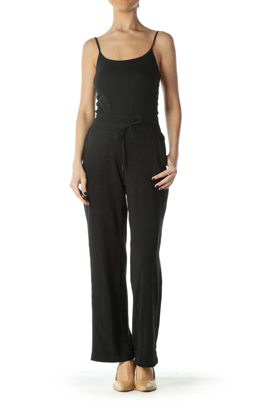 Black Stretch Light Sports Pants with Drawstring