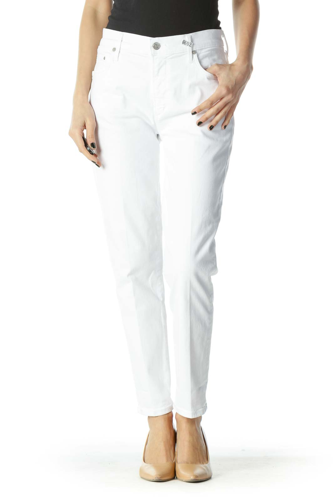 White Stretch Straight-Leg High-Waist Denim Jeans