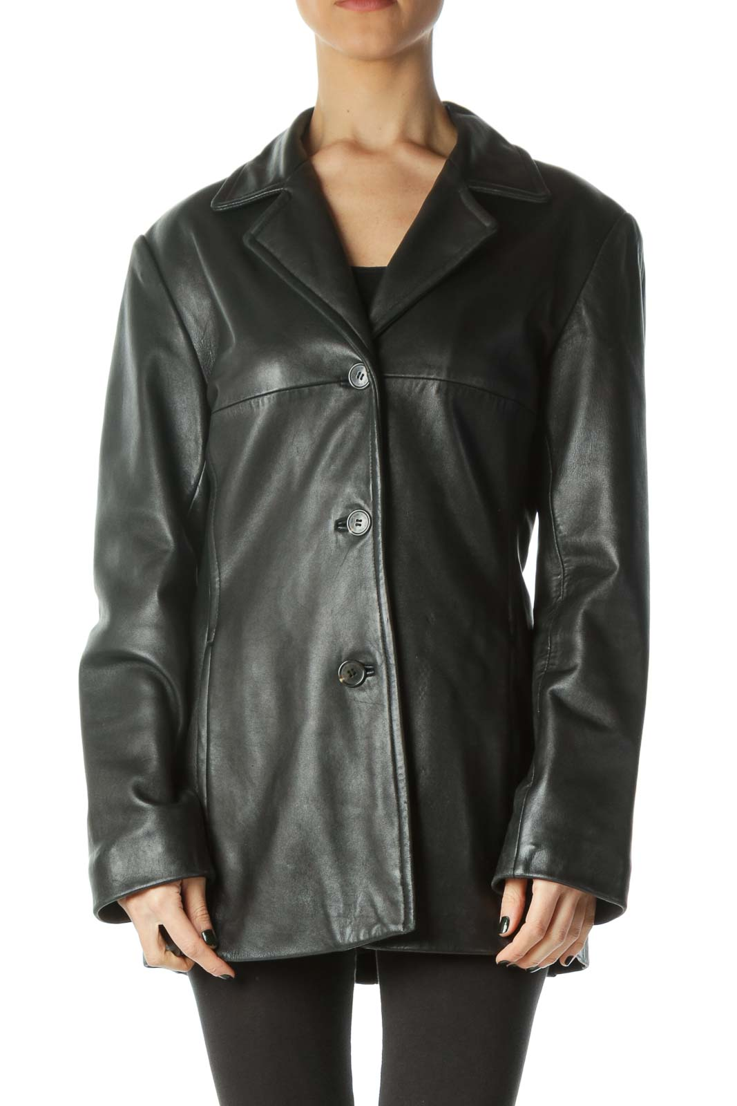 Black Buttoned Pocketed Leather Coat