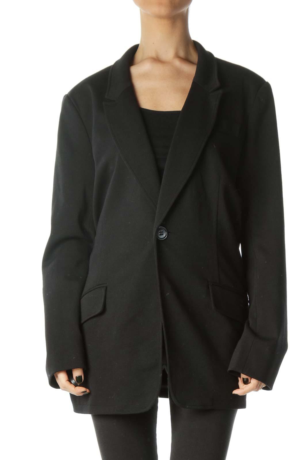 Black Collared V-Neck Buttoned Blazer
