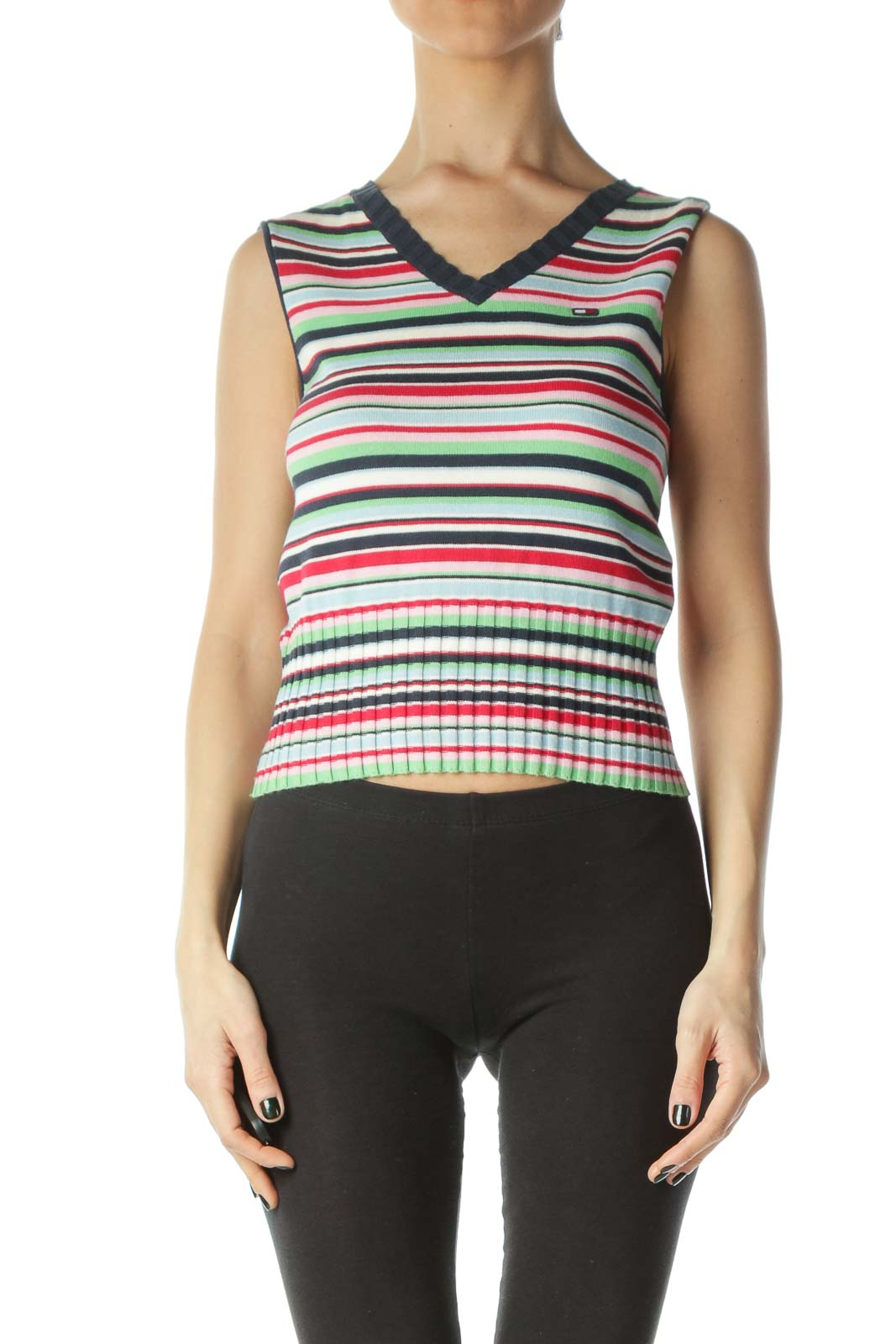 Multicolored 100% Cotton Striped Short Knit Vest