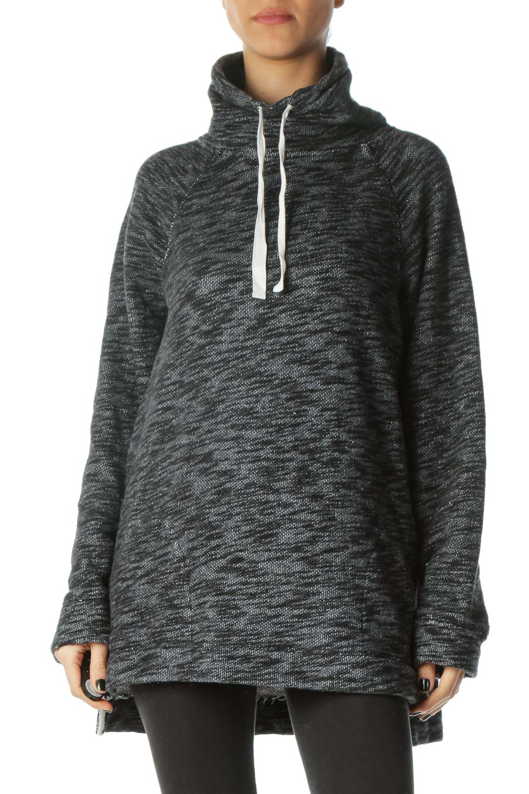 Black Gray White Knit Drawstring Pullover Sweater