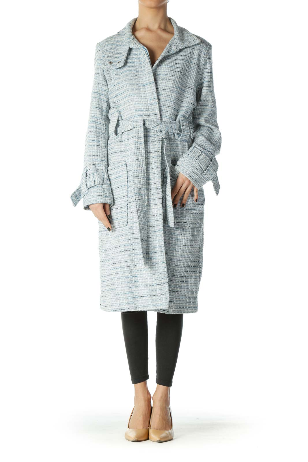 Blue White Textured Pocketed Long Belted Coat