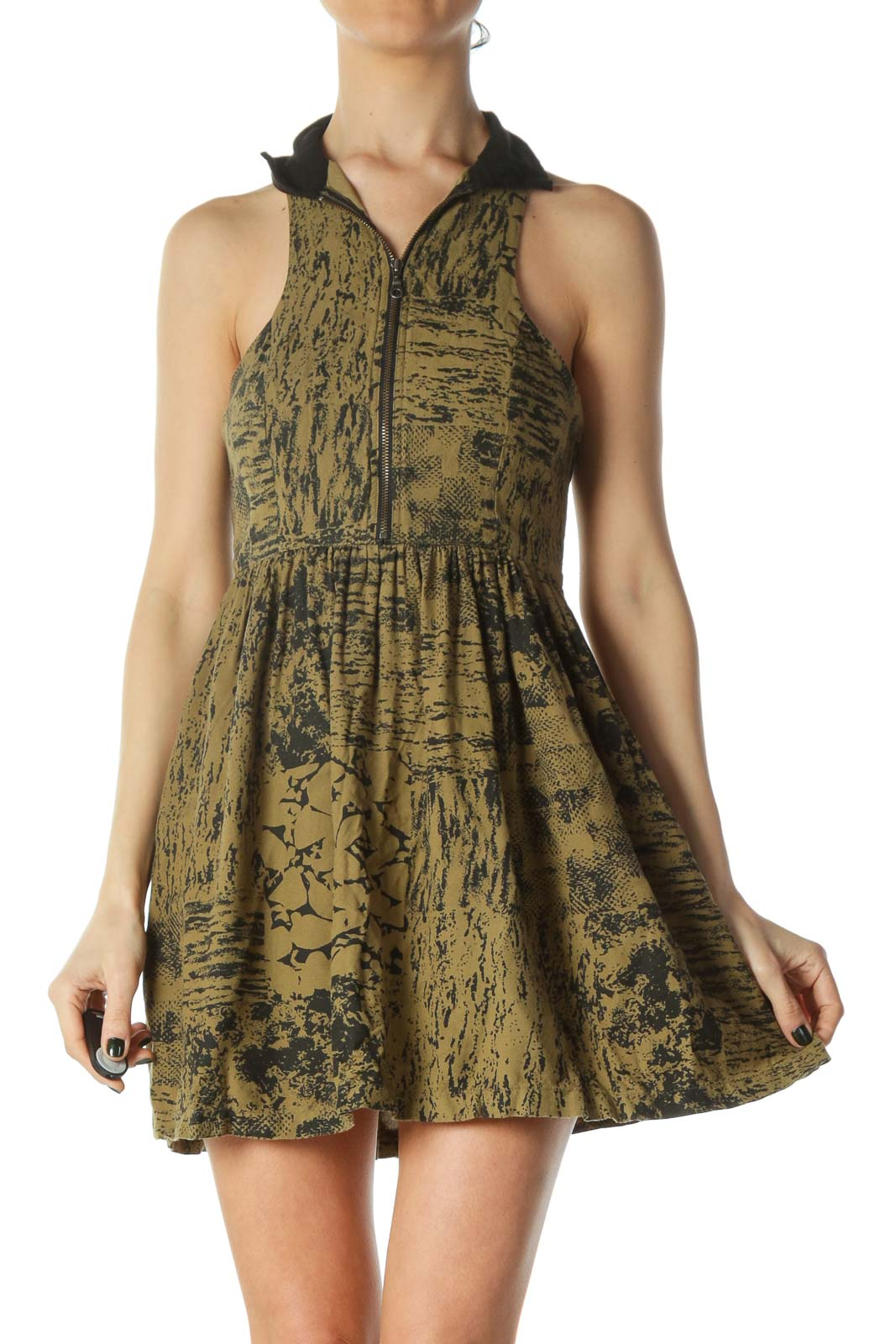 Black Green Print Zippered Day Dress