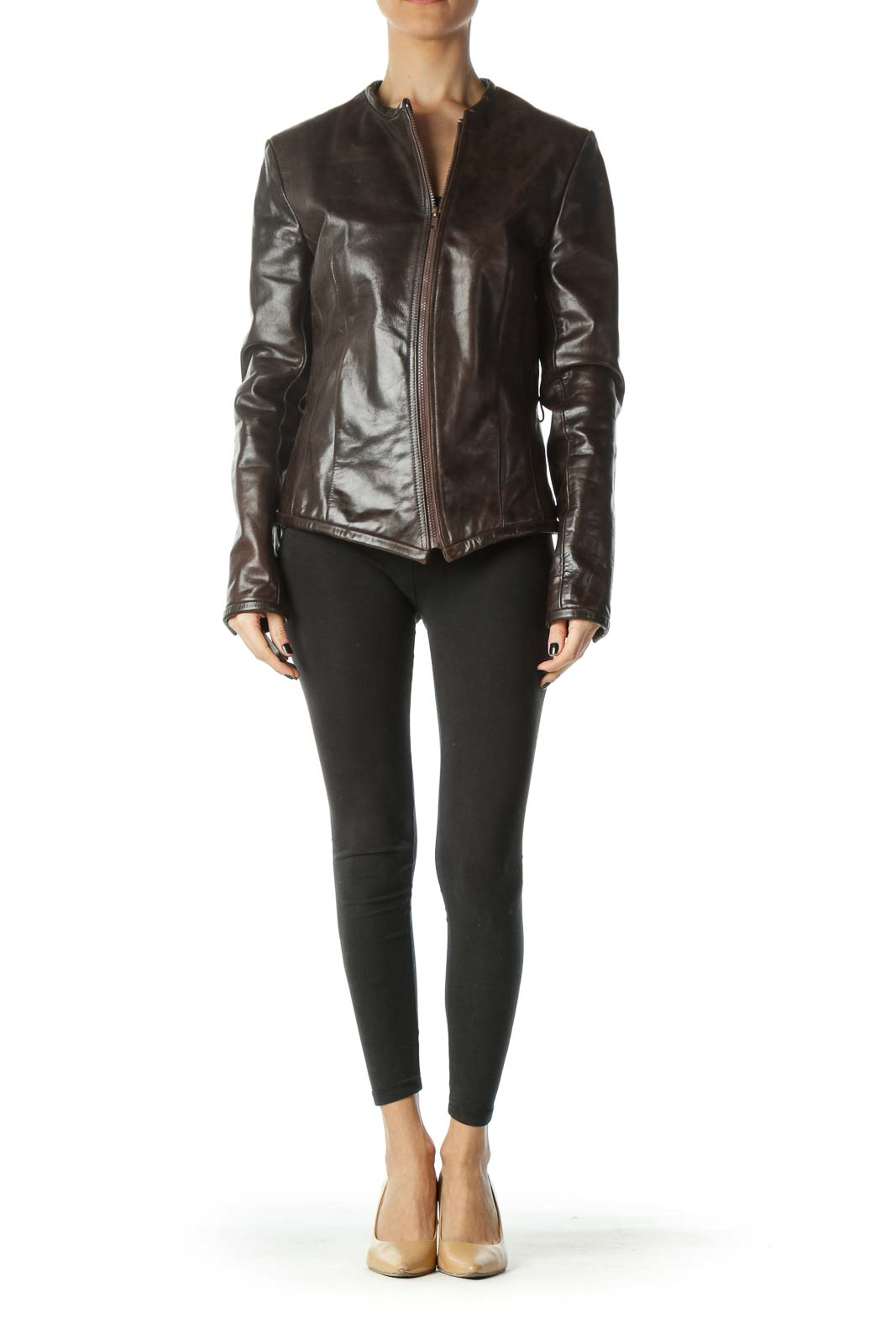 Brown Zippered Long Sleeve Heavy Leather Jacket
