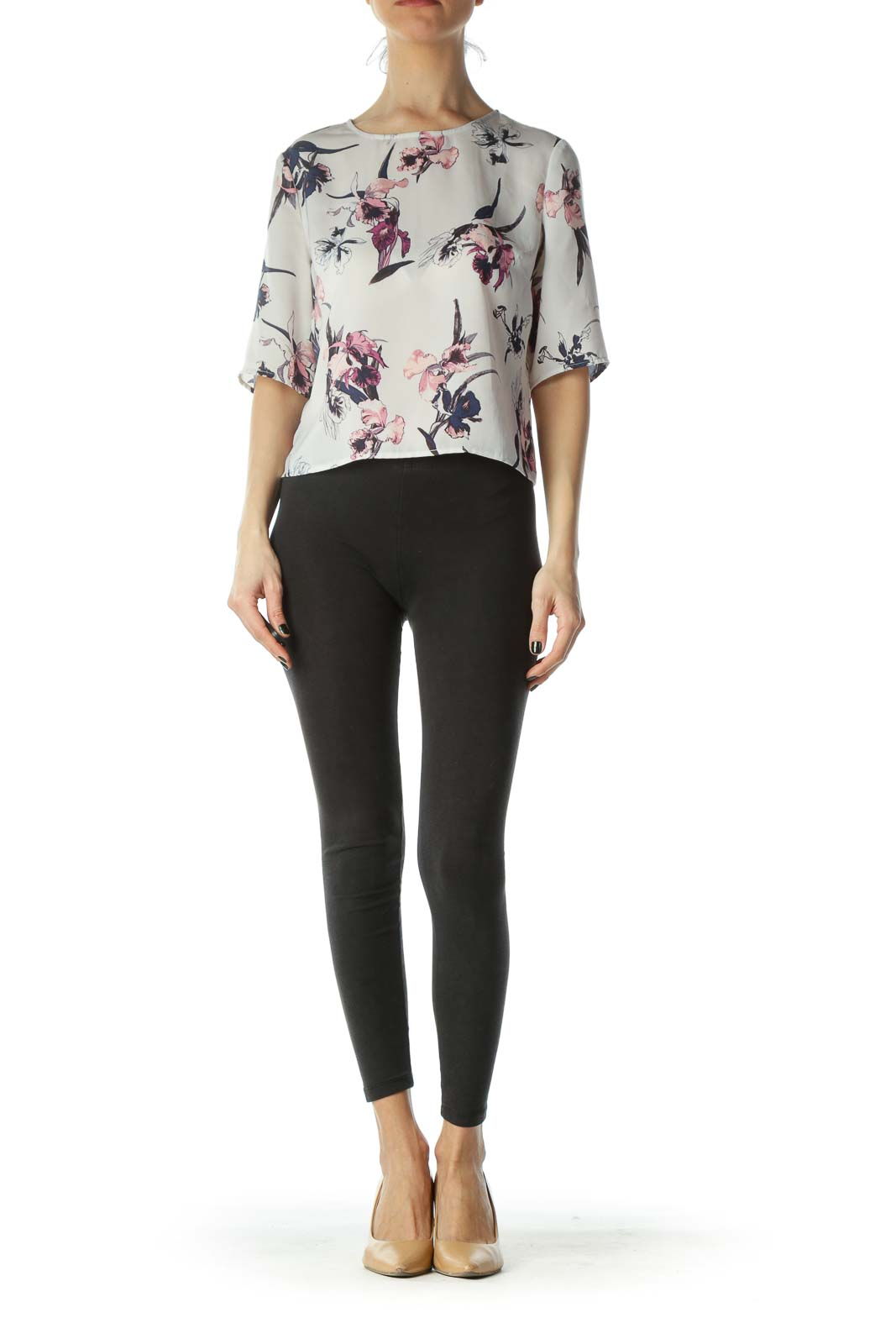 Cream Cropped Floral Blouse