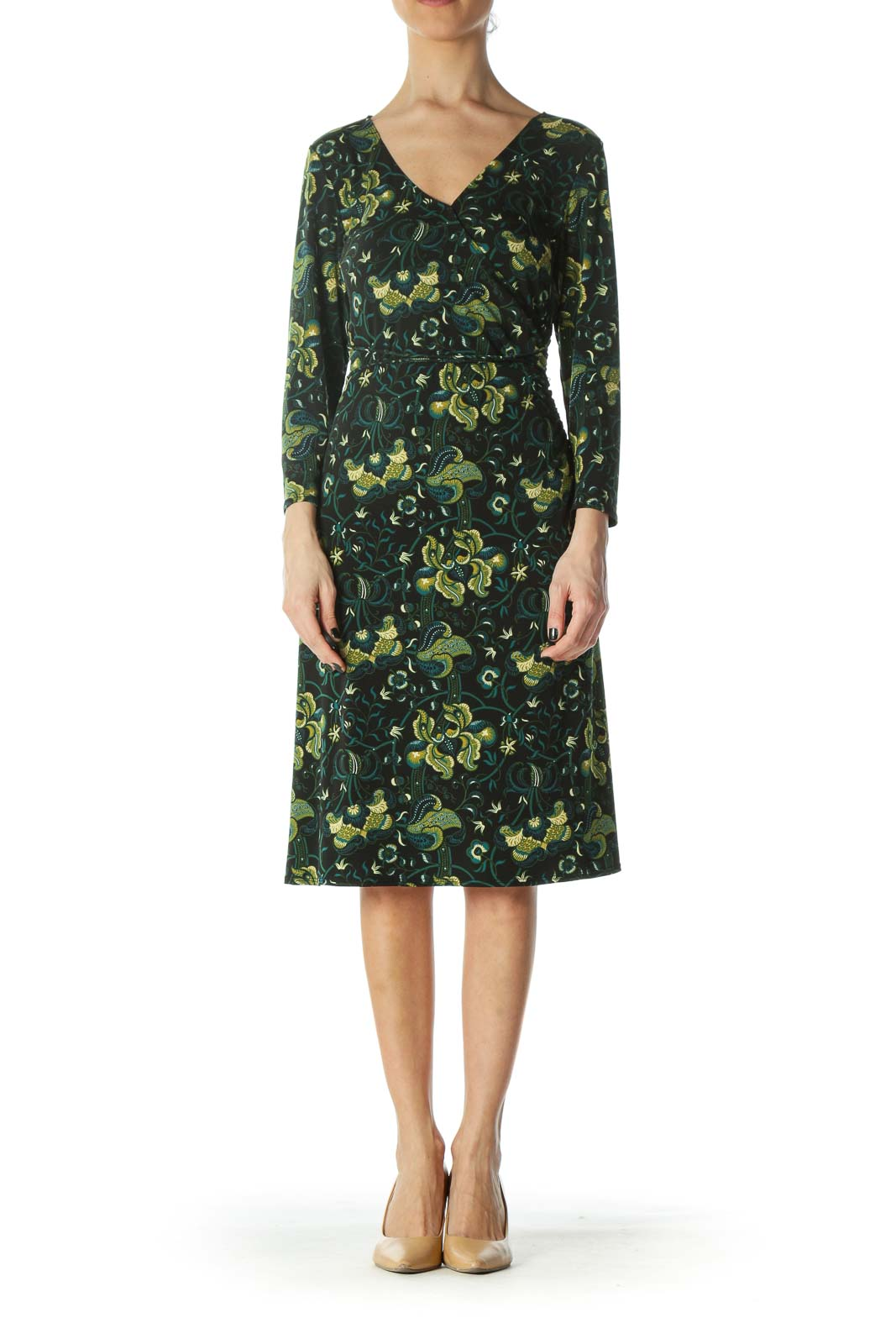 Black Green Yellow Print 3/4 Sleeve Day Dress