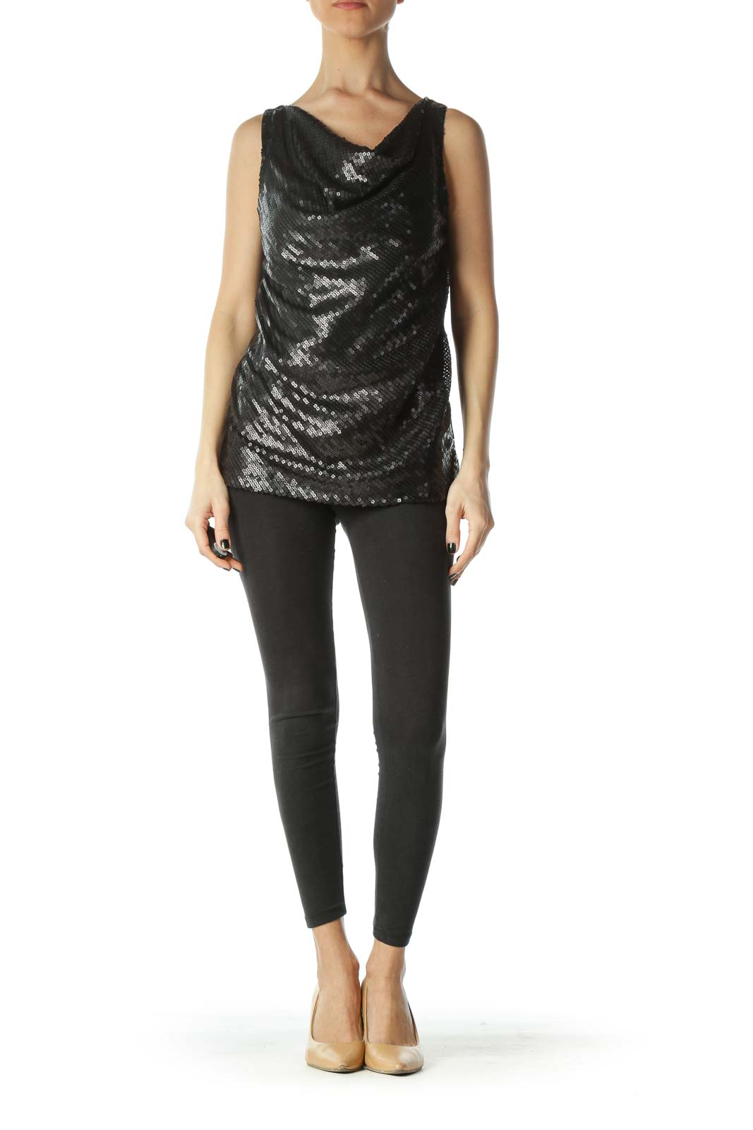 Black Front Sequined Cowl Neck Sleeveless Top