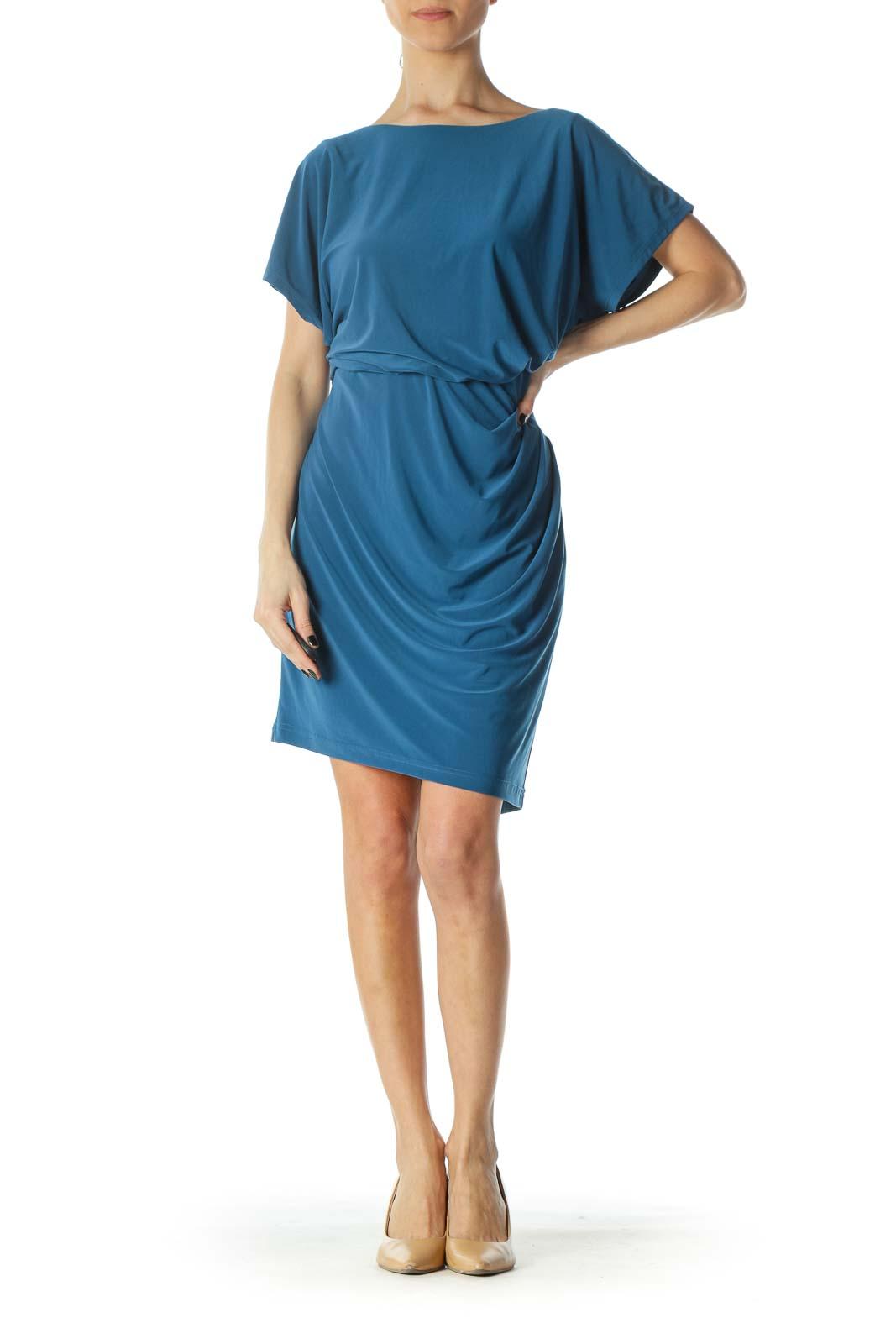 Teal Blue Short Sleeve Stretch Work Dress