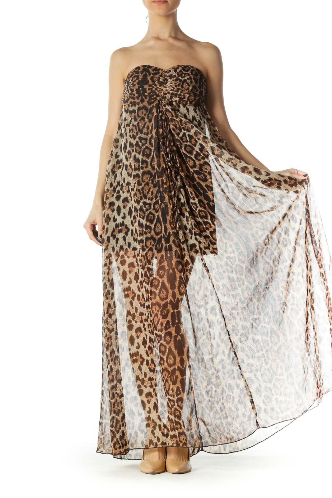 Black Brown Animal Print Strapless Dress
