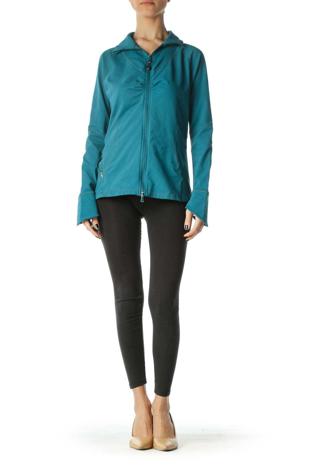 Teal Blue Stretch Scrunched Sports Jacket