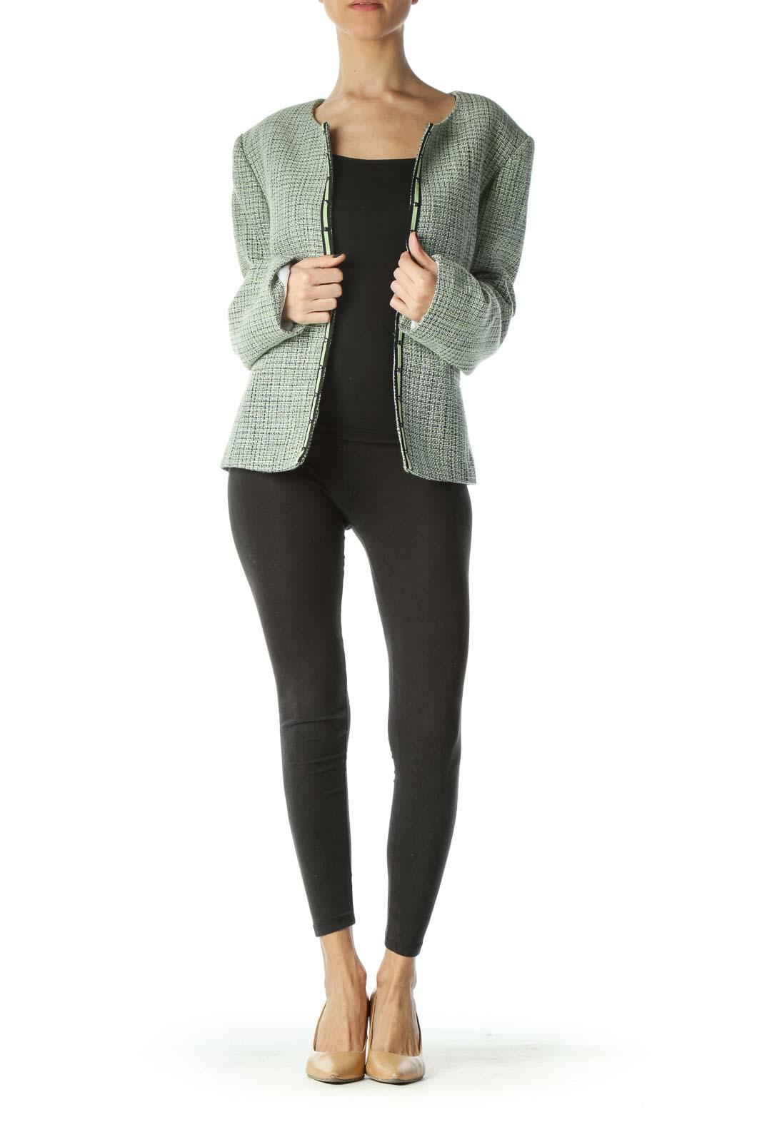 Green Black White Textured Blazer