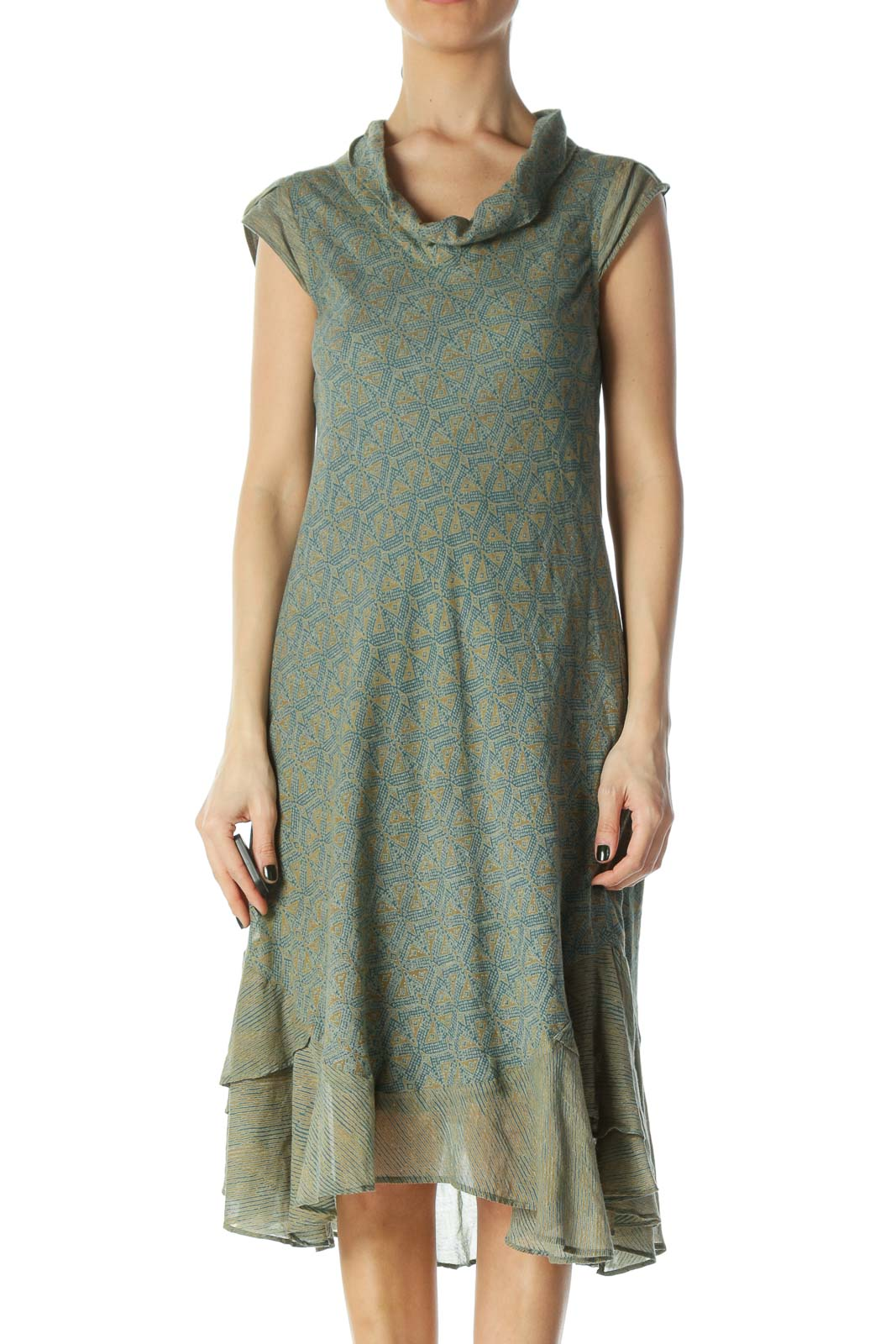 Blue and Gold Geometric Dayl Dress