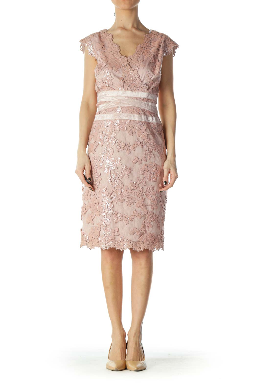 Pink Sequin and Lace Cocktail Dress