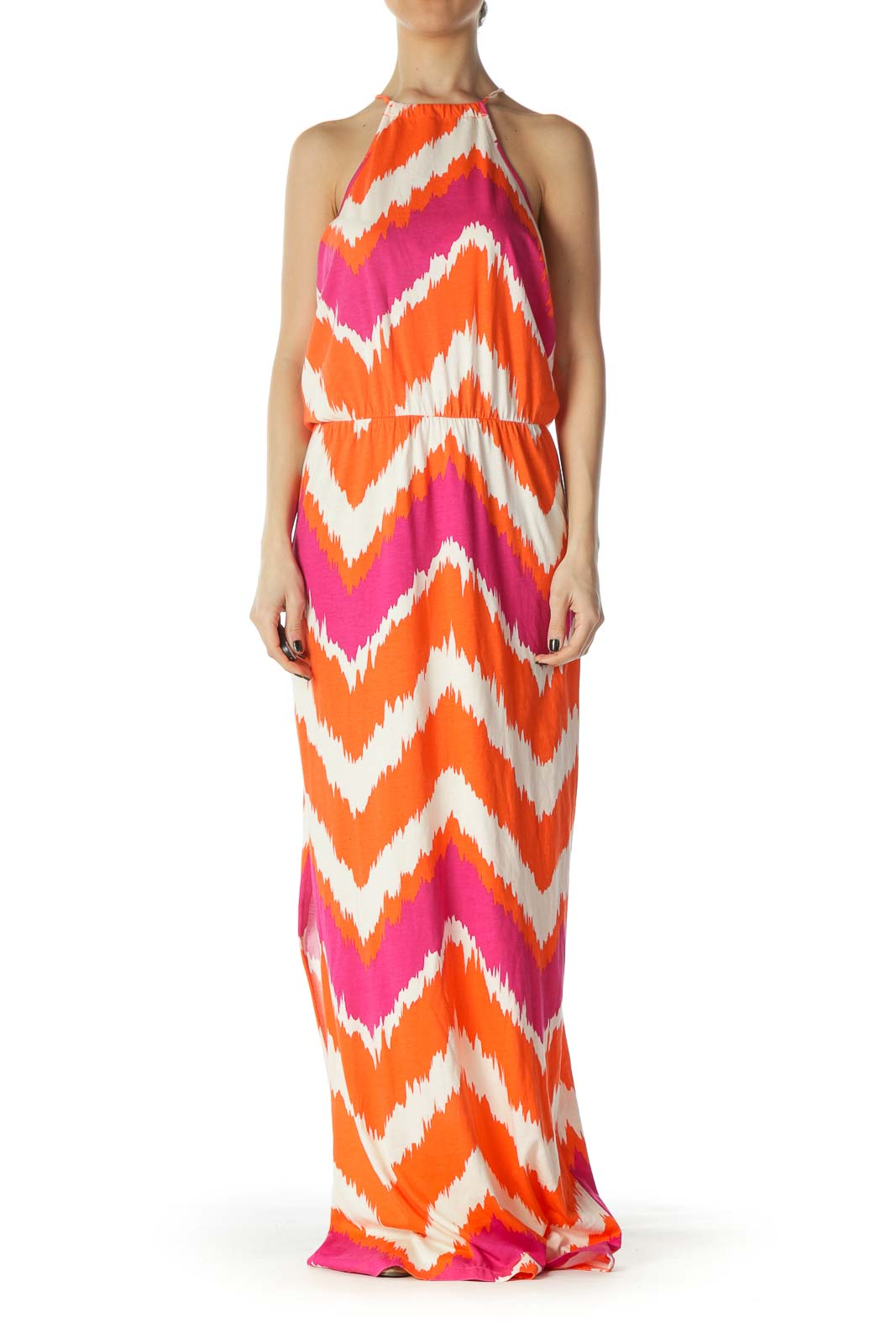 Hot Pink and Orange Halter Maxi Dress