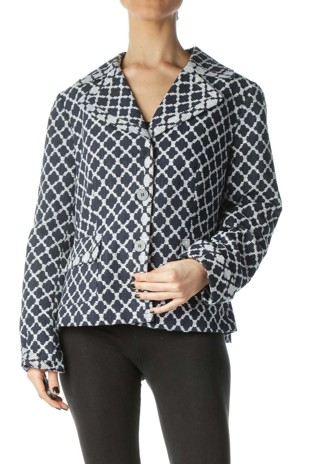 Blue White Textured Print Pocketed Blazer